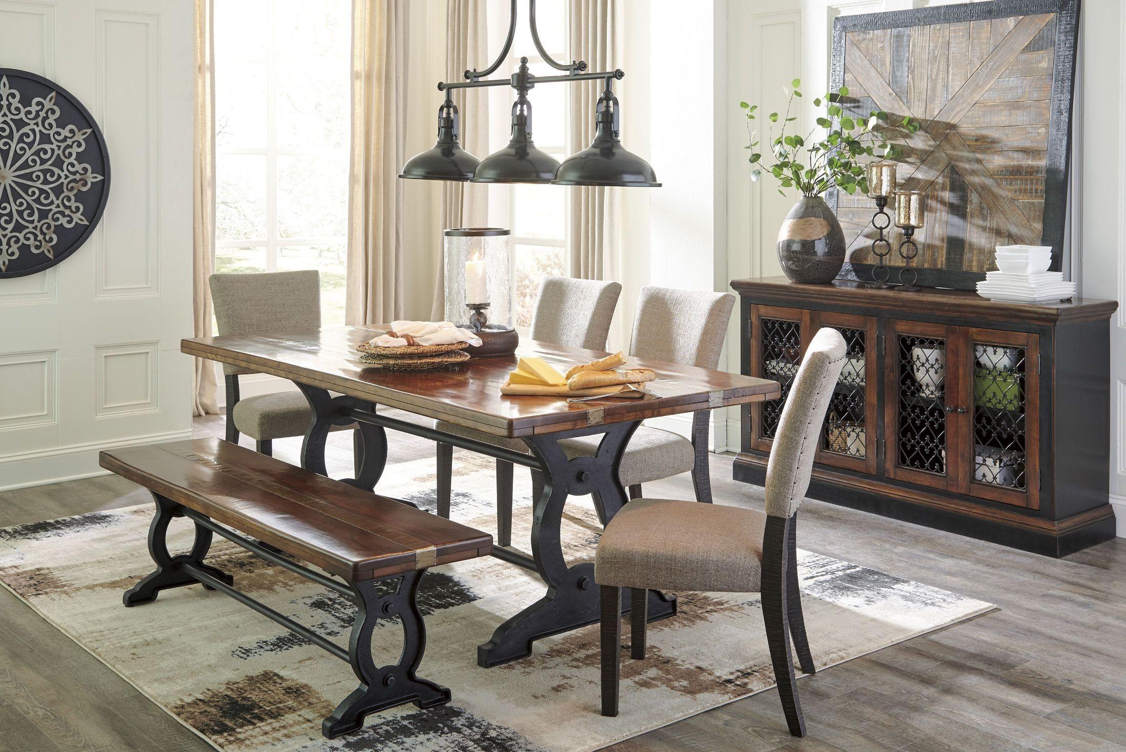 Zurani brown and black rectangular dining room set d709 for Brown dining room set