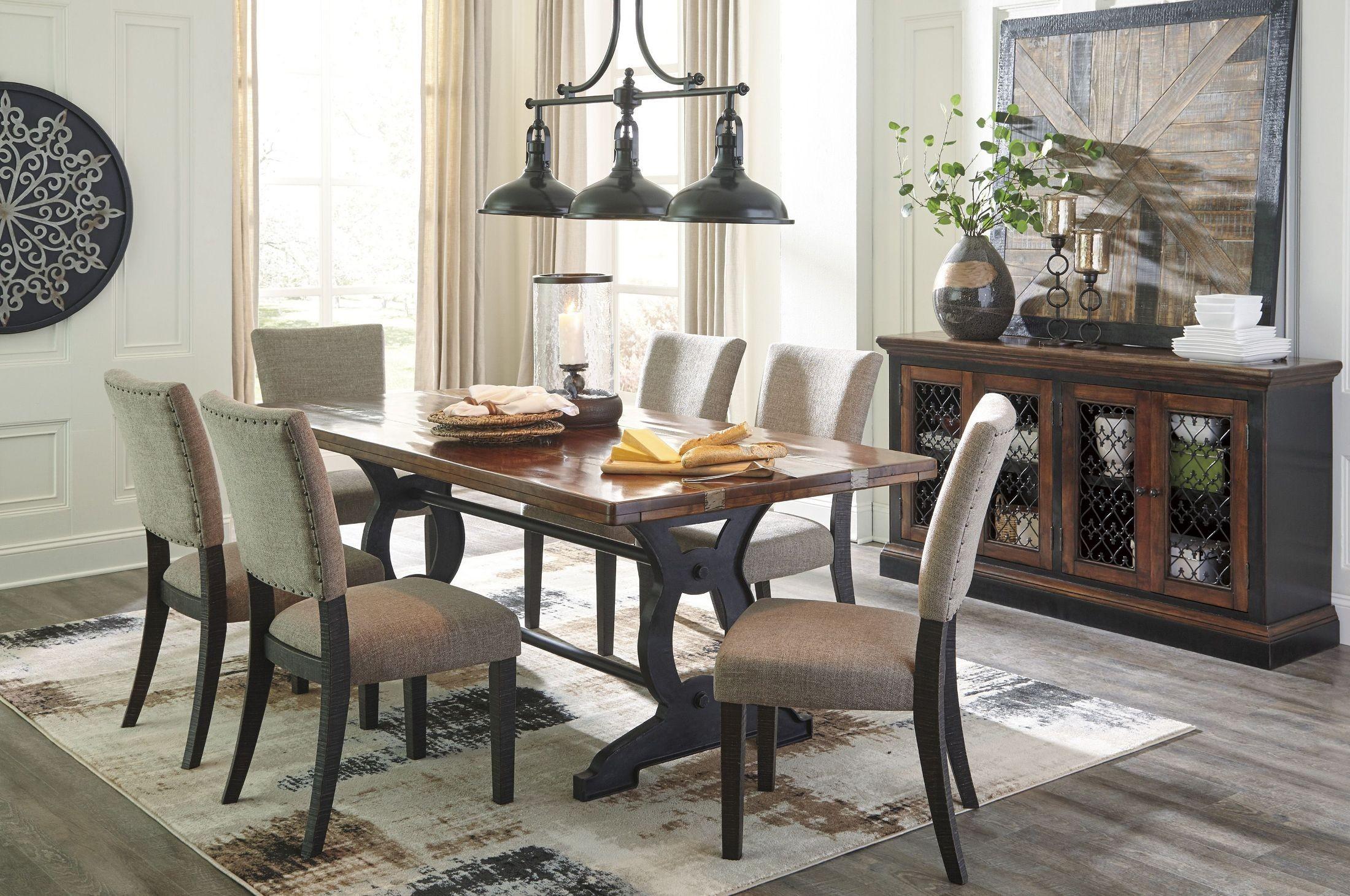 zurani brown and black rectangular dining table d709 25 ashley. Black Bedroom Furniture Sets. Home Design Ideas