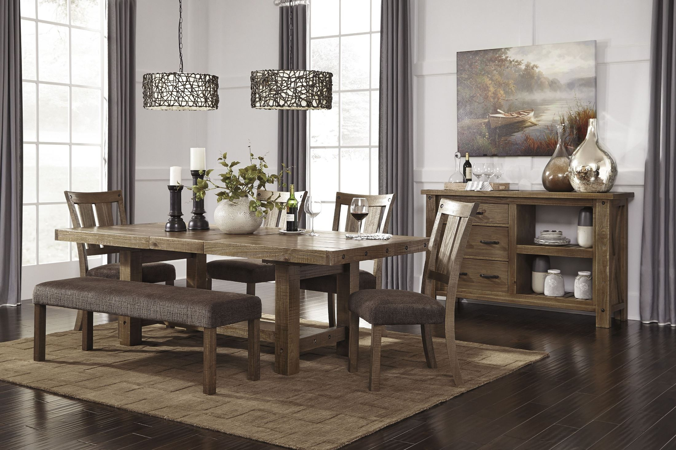 tamilo gray brown rectangular extendable dining room set from ashley