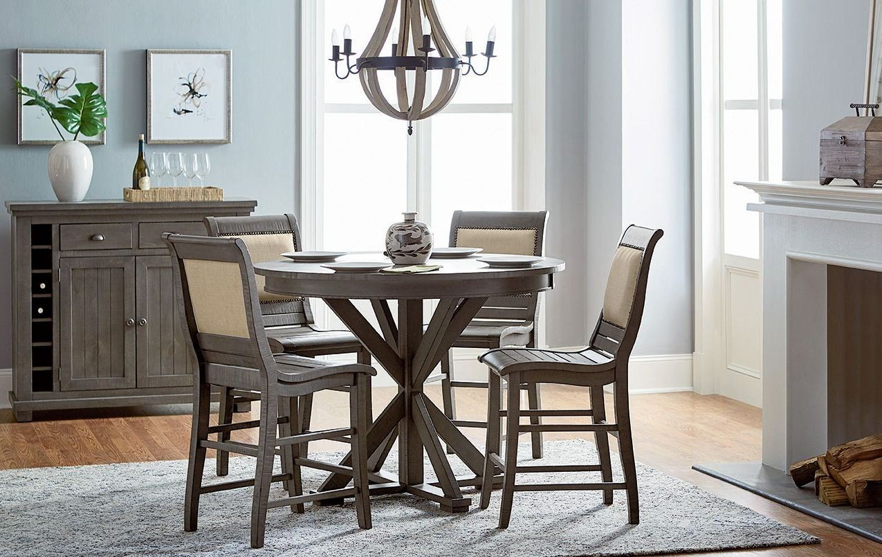 Willow distressed dark gray round counter height dining for Distressed round dining table