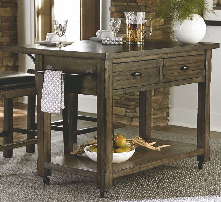 Crossroads birch smoke kitchen island d850 45 progressive - Birch kitchen table ...
