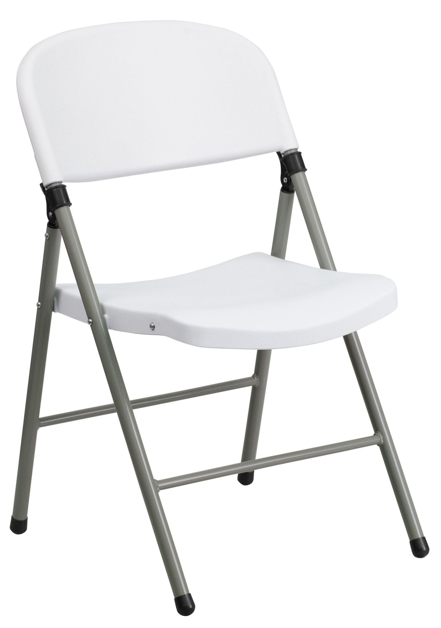 Hercules Series White Plastic Folding Chair with Gray