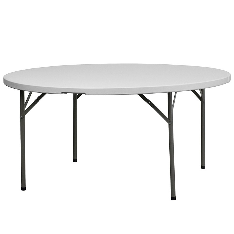 60 39 39 Granite White Round Plastic Folding Table