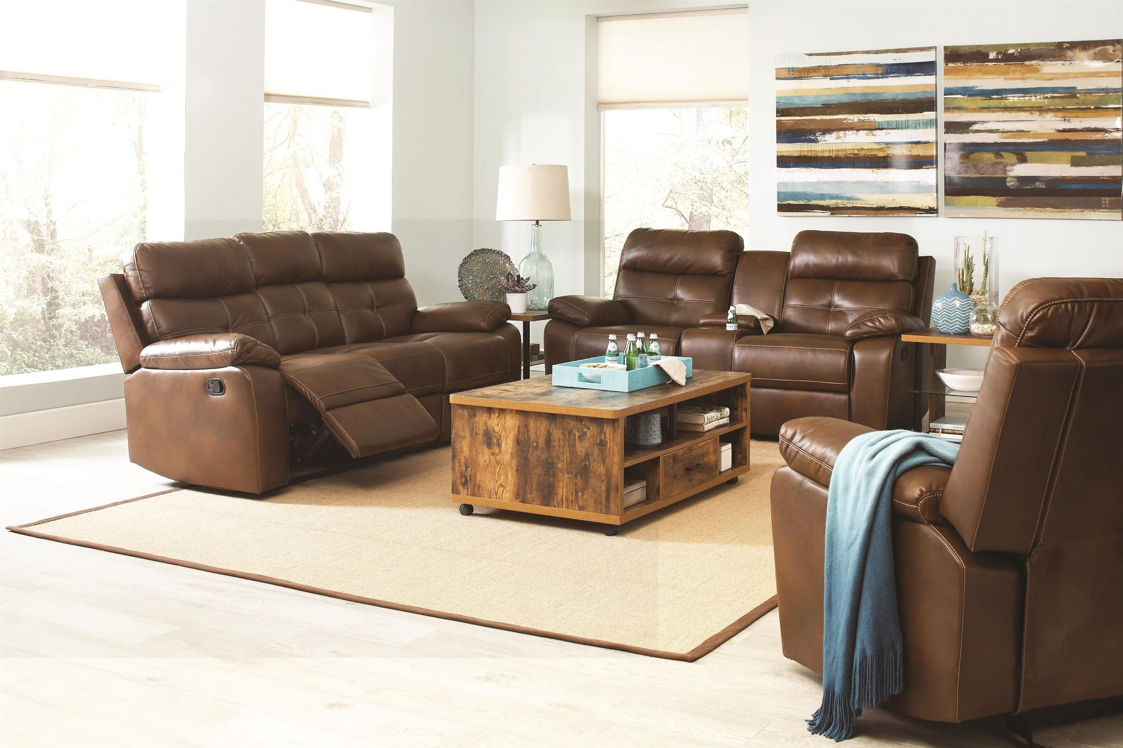 Damiano Faux Leather Reclining Living Room Set From Coaster 601691 Coleman Furniture