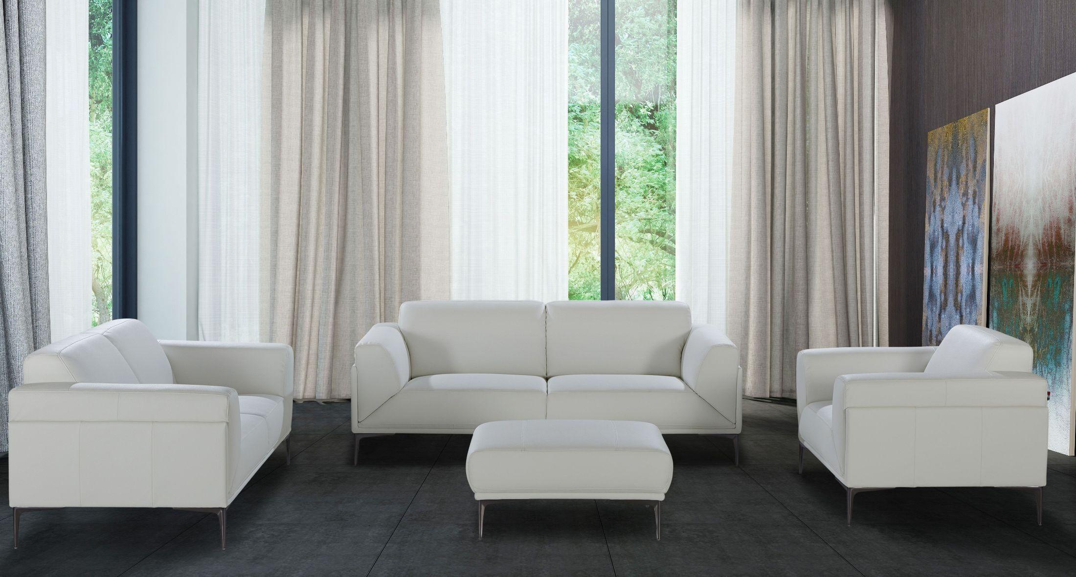 davos white leather living room set 18248 s j m