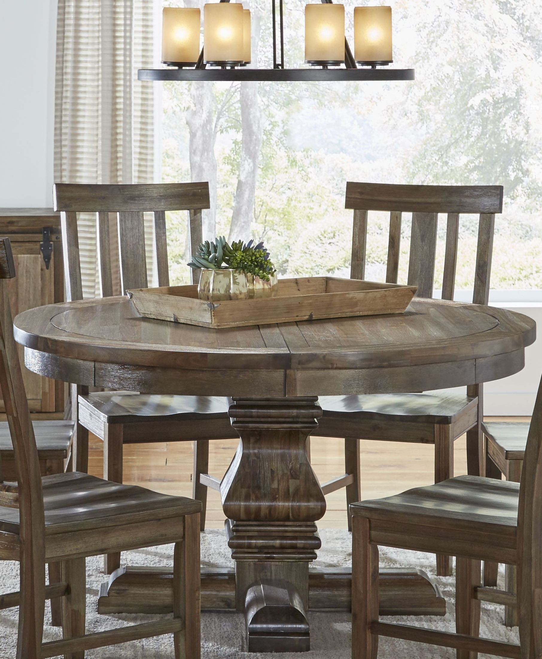 dawwt6510 round ped 6 slatback wood seats server round table