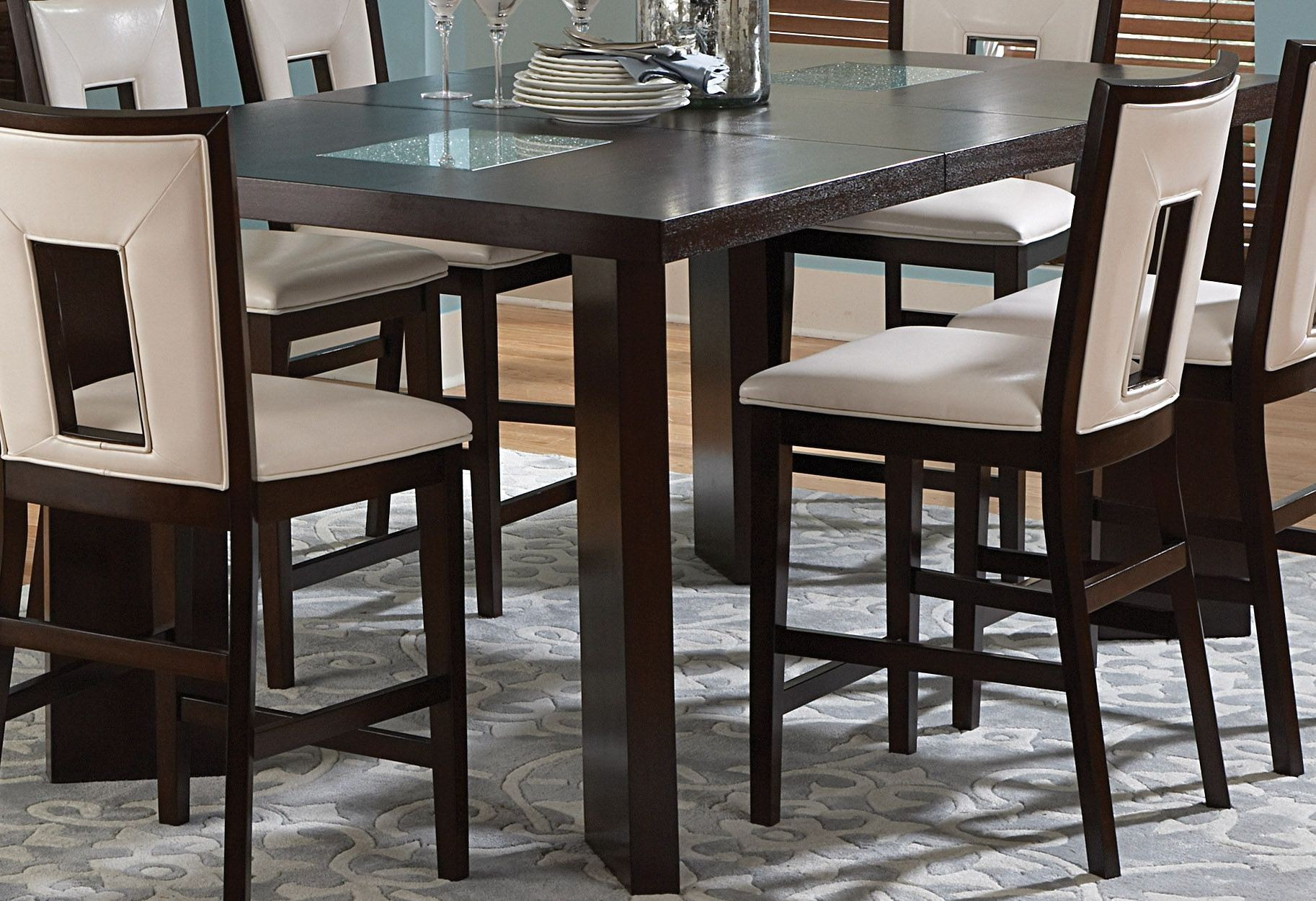 Delano espresso cherry extendable counter height dining for Cherry dining table