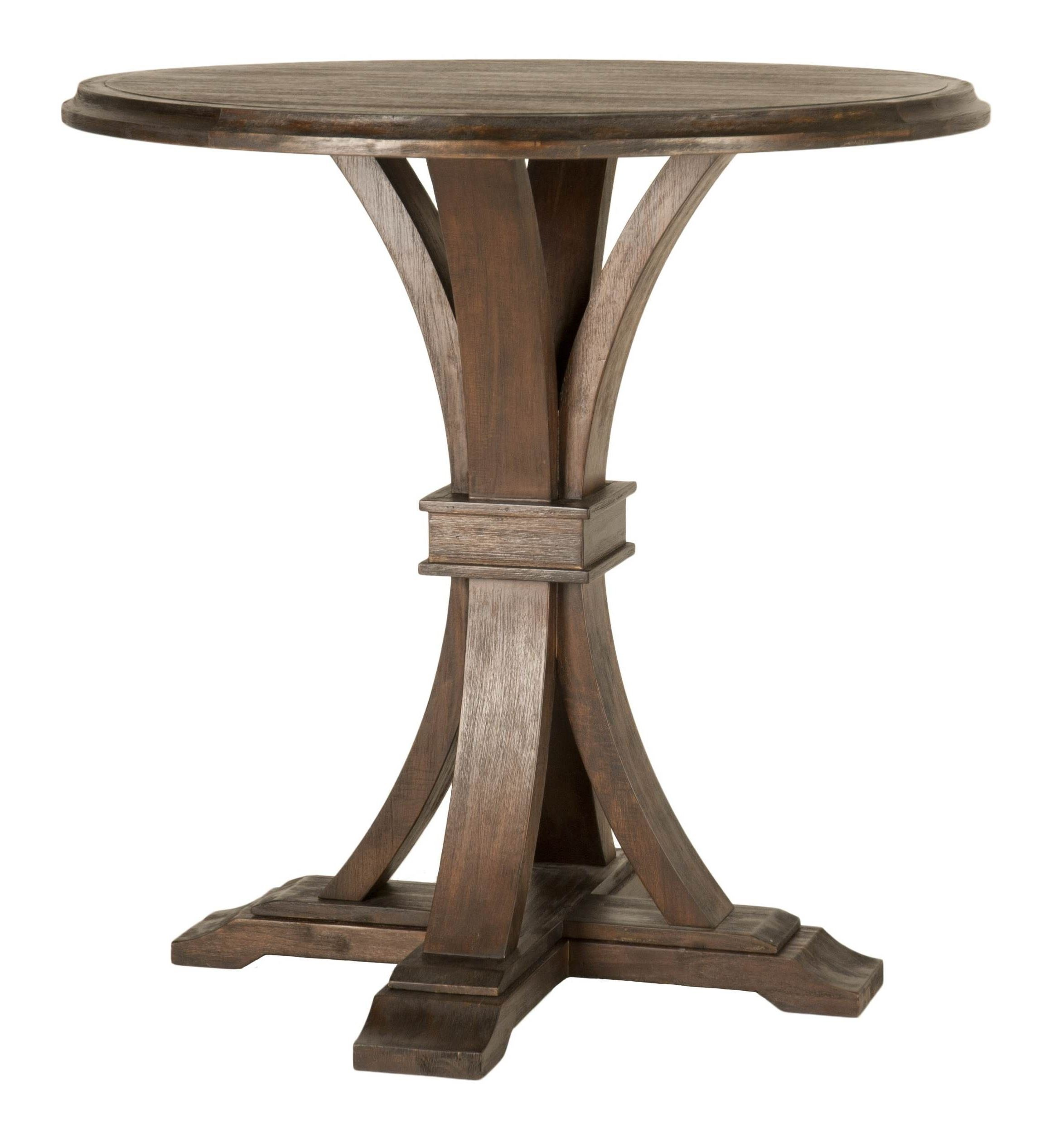 Devon rustic java round bar height dining table from for Tall dining table