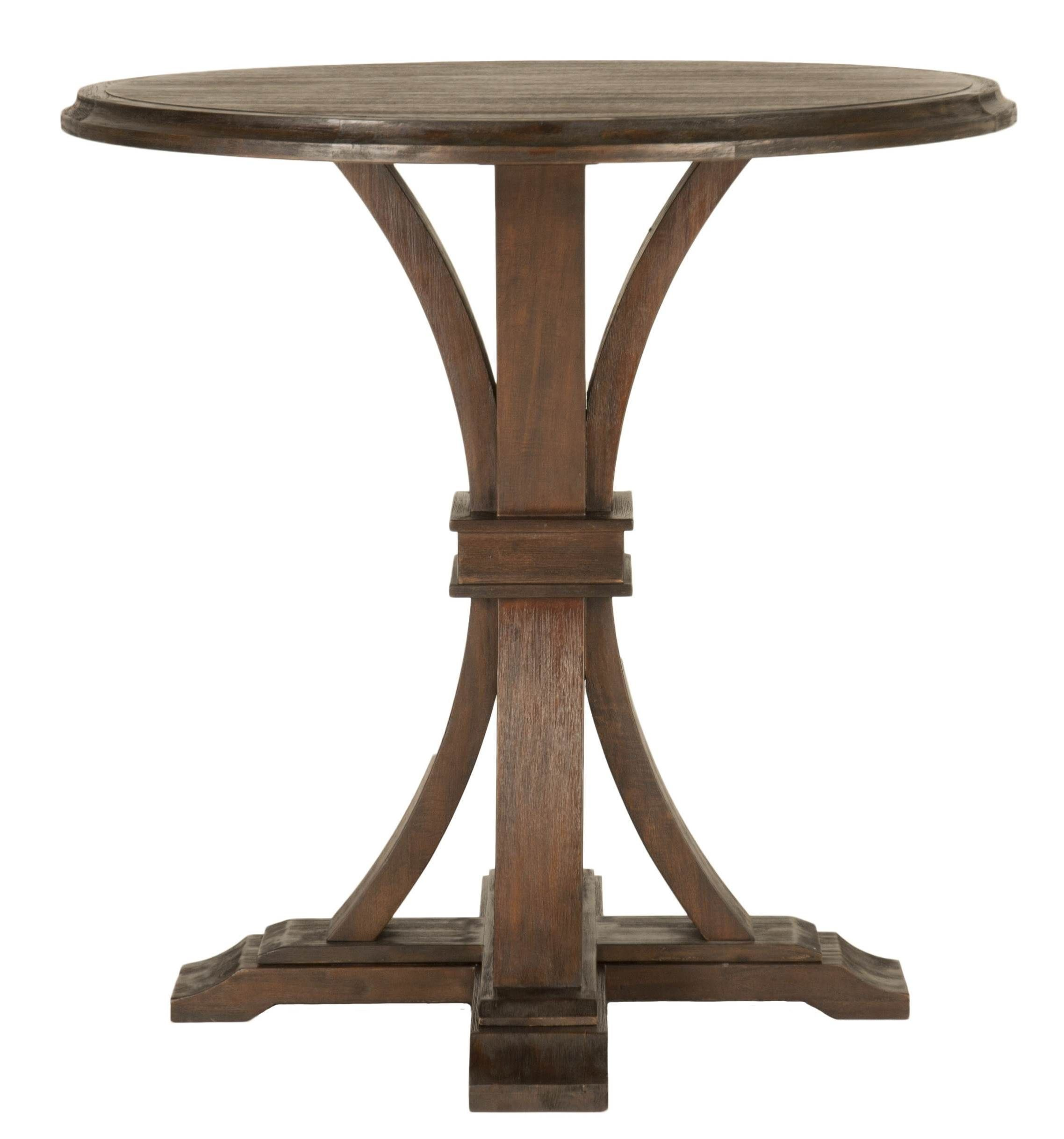 Devon rustic java round bar height dining table from for Table bar 6 personnes