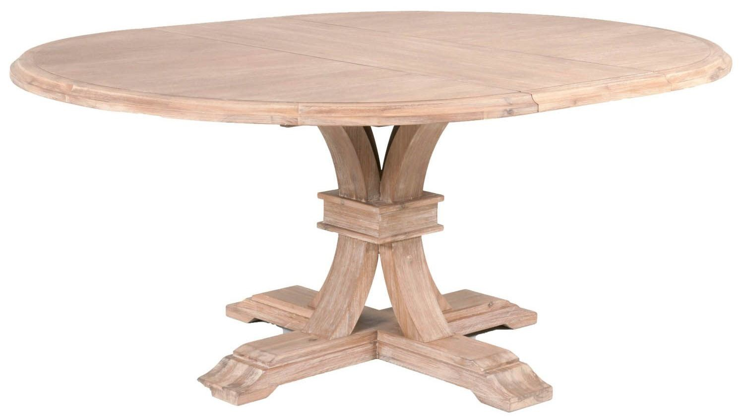 Traditions stone wash devon round extendable dining table for Round extension dining table