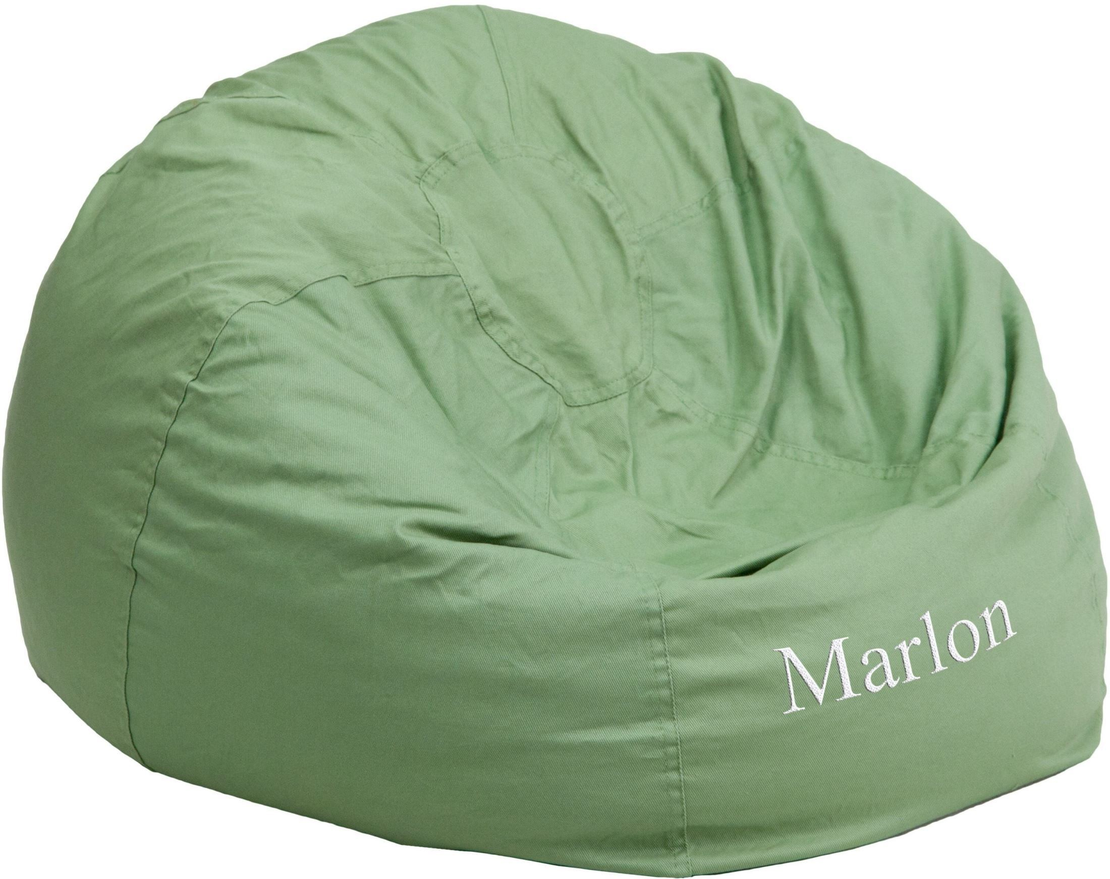 personalized oversized solid green bean bag chair with