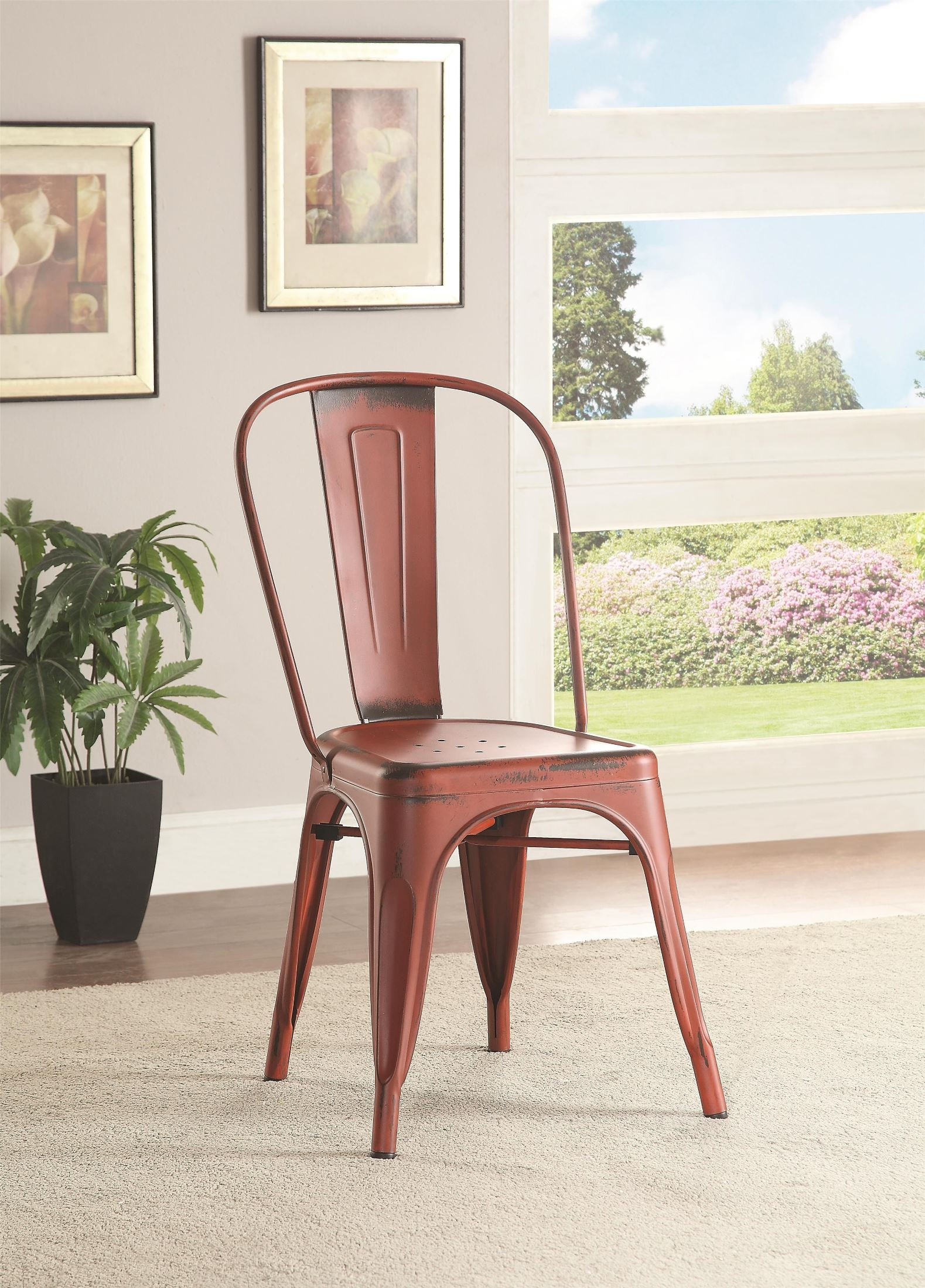 Bellevue Red Metal Dining Chair Set Of 4 From Coaster