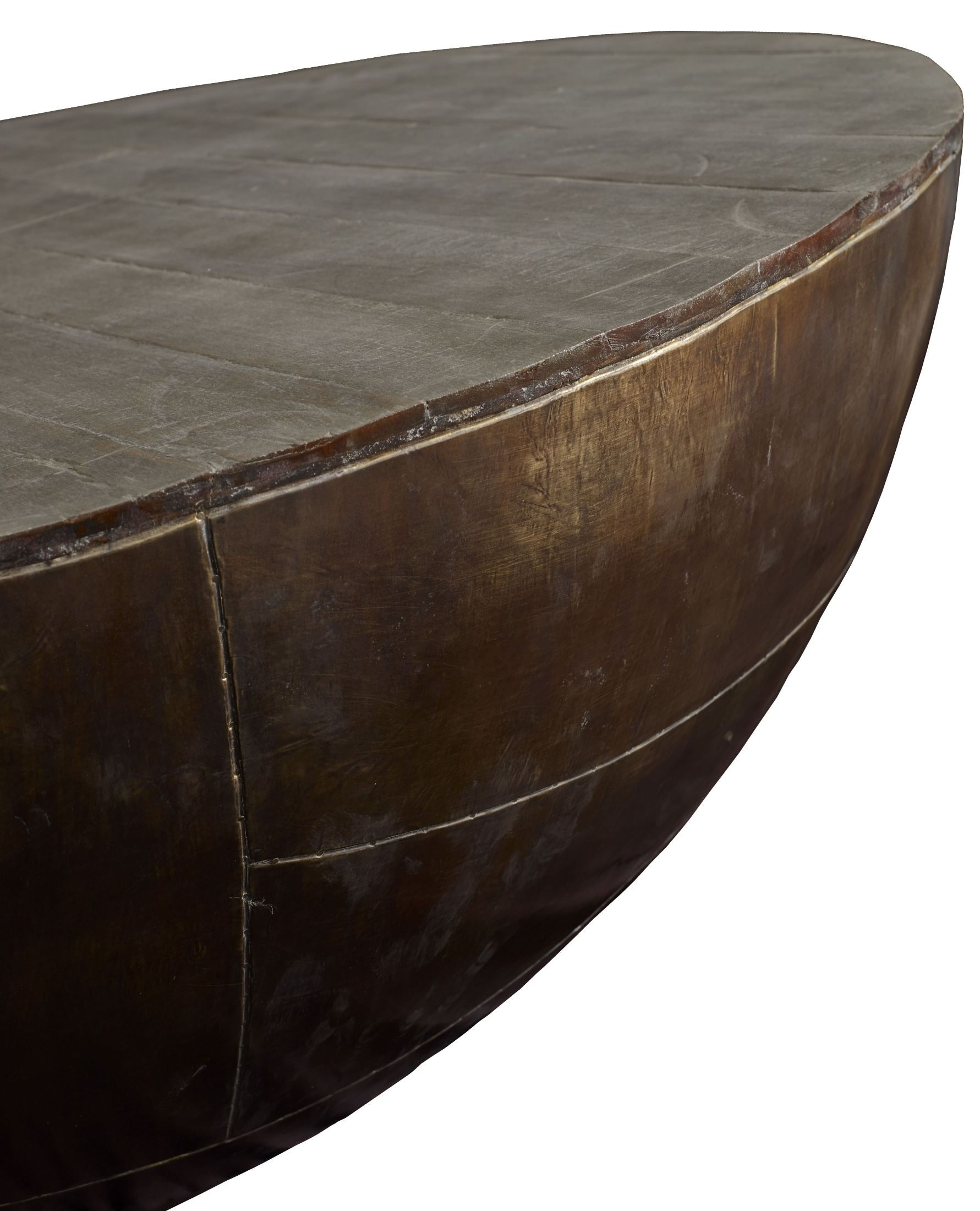 Delano Antiqued Brass Drum Coffee Table Dl502 Brownstone