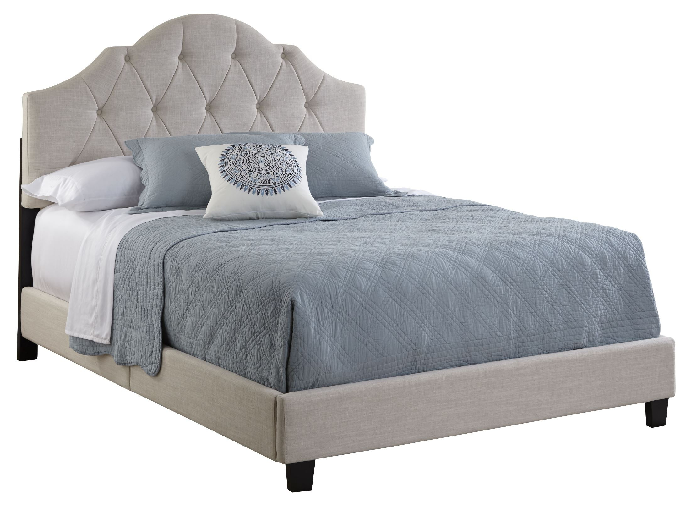 All N One Queen Fully Upholstered Tufted Saddle Bed From