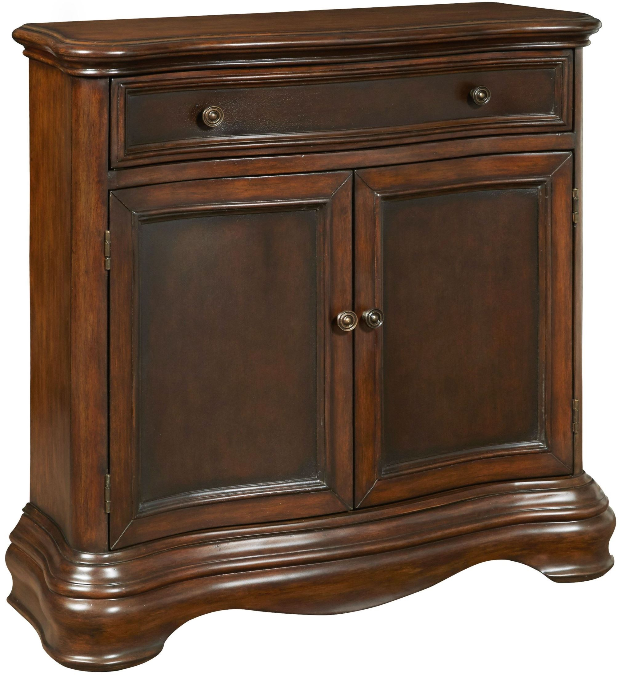 Brown drawer accents hall chest from pulaski ds p