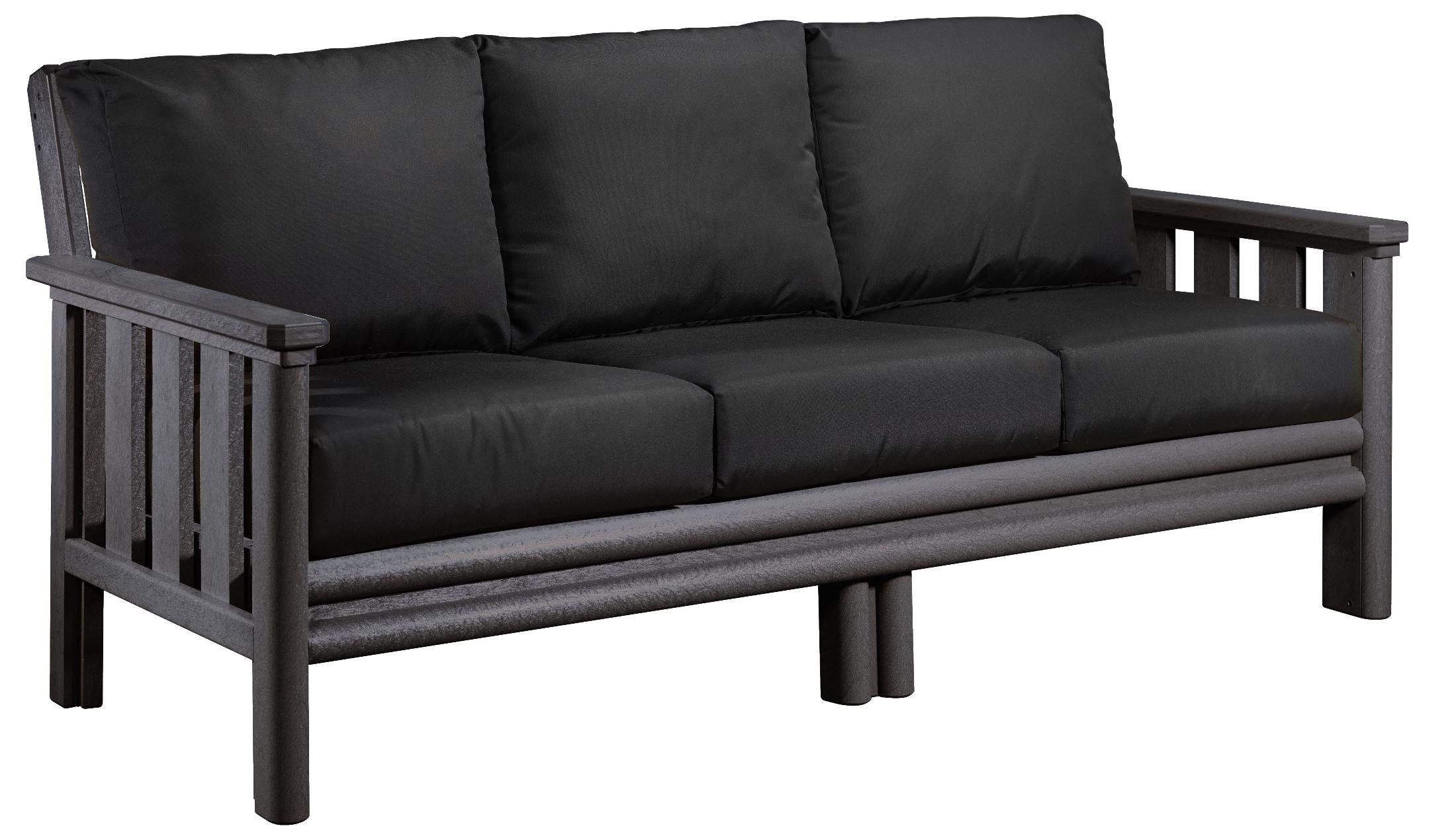 Stratford Slate Gray Sofa With Black Sunbrella Cushions