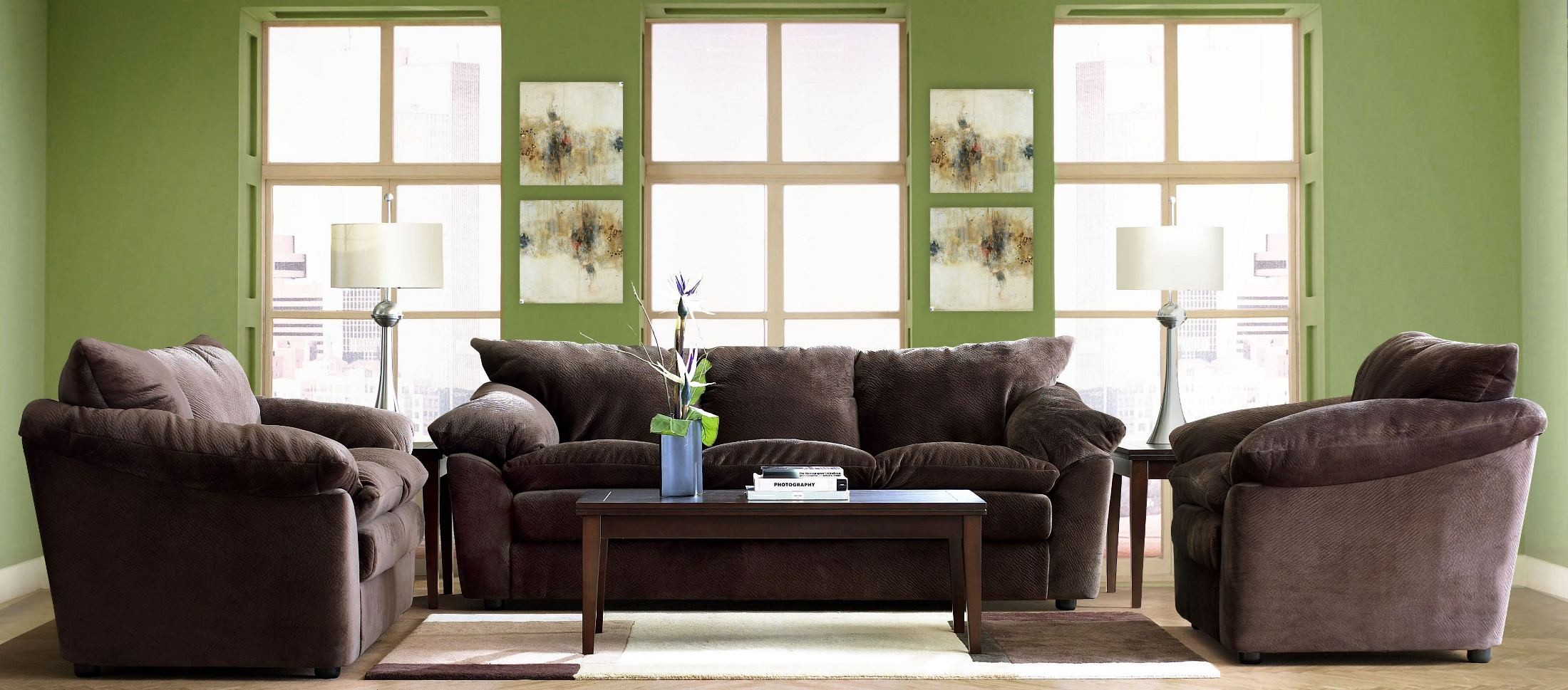 heights challenger chocolate living room set oe13 012013151785