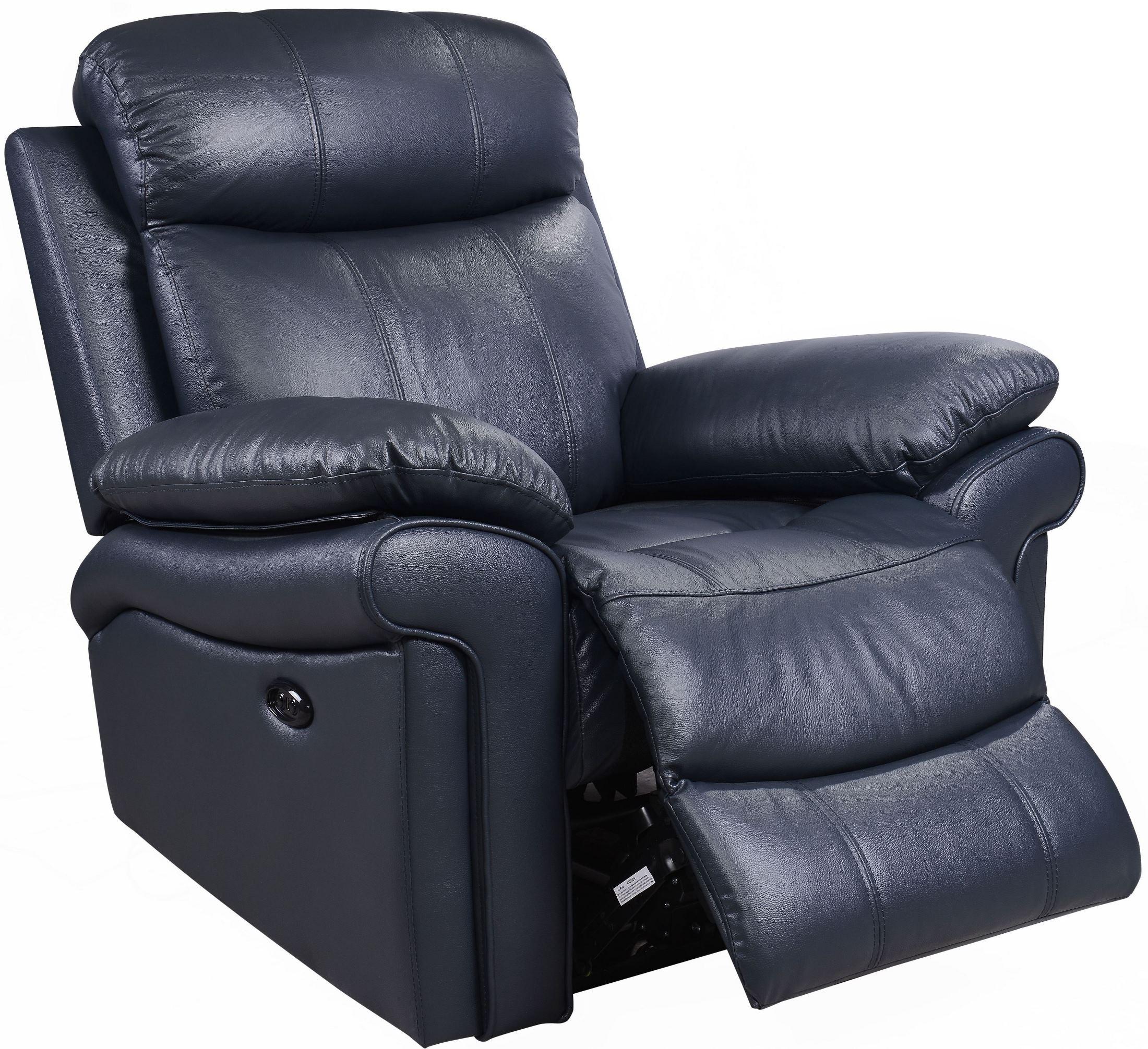 Shae Joplin Blue Leather Power Reclining Chair 1555 E2117
