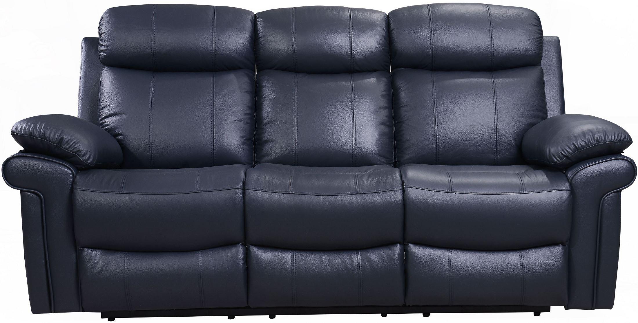 Shae Joplin Blue Leather Power Reclining Sofa 1555 E2117