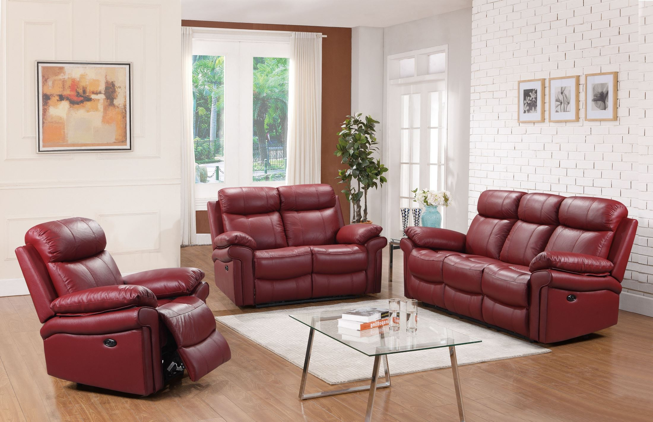 ... Red Leather Power Reclining Sofa, 1555-E2117-031031LV, Leather Italia