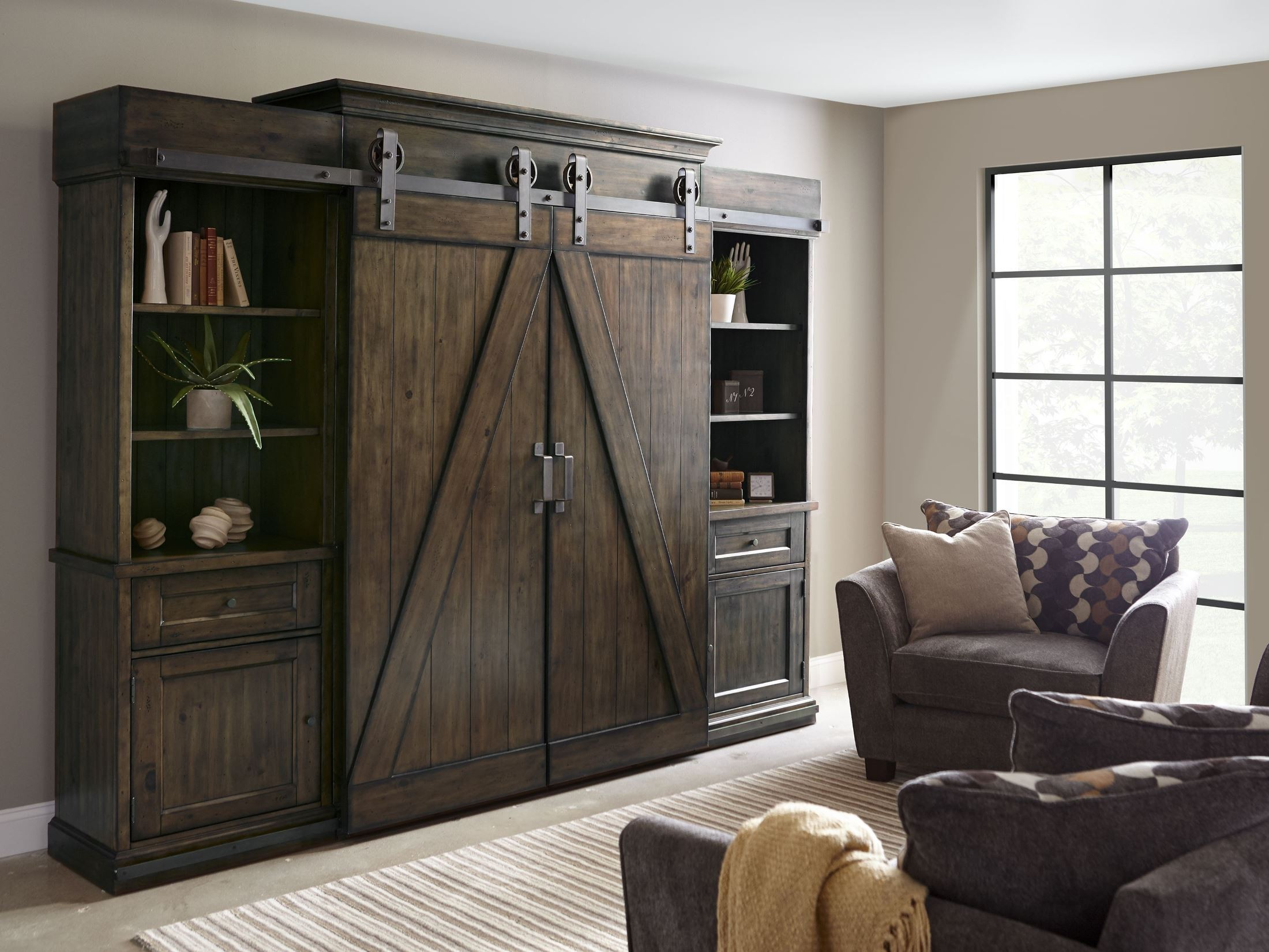 Fraser Warm Rustic Pine Wood Entertainment Wall Unit