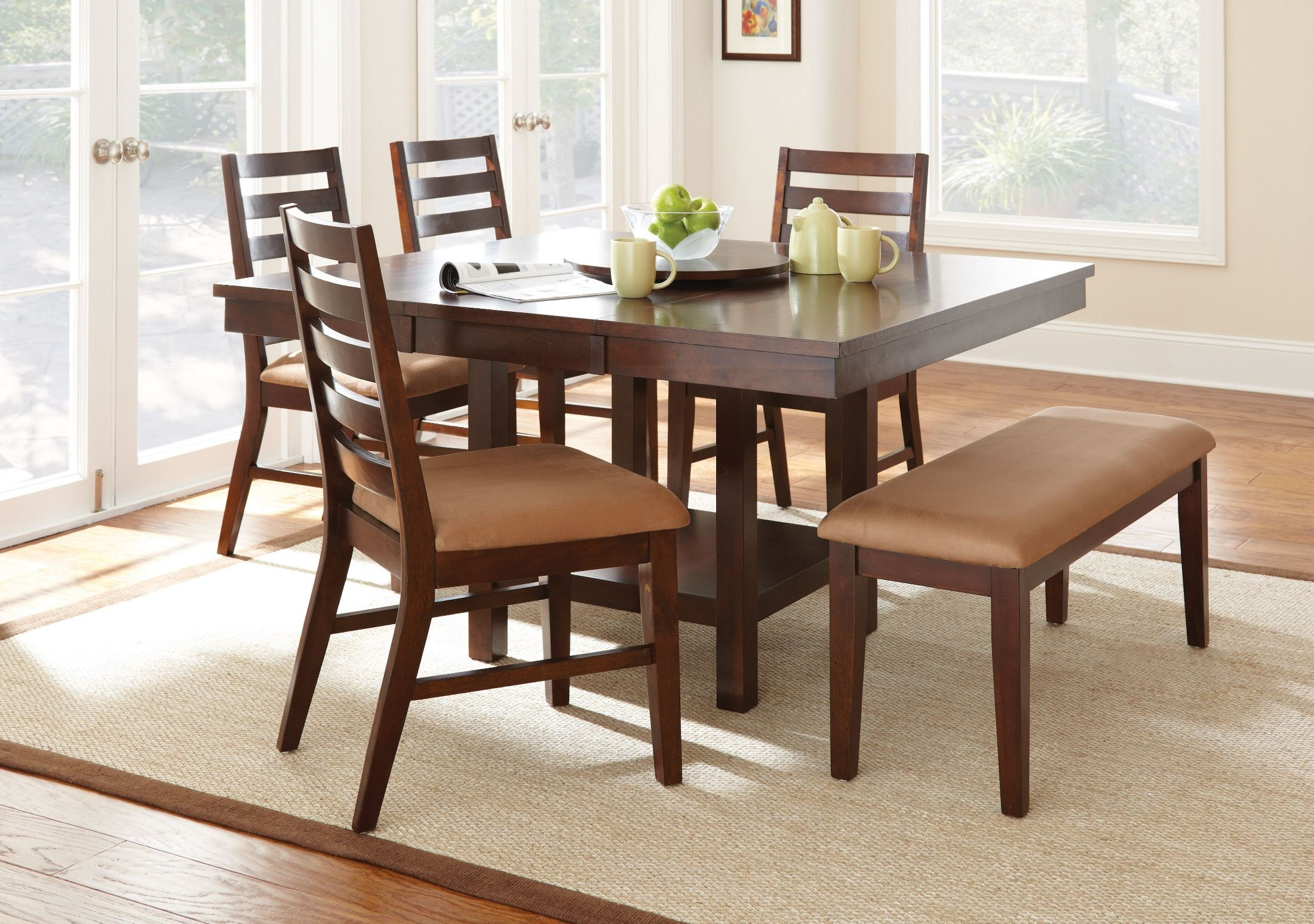 Eden Light Cherry Extendable Square Dining Room Set ED400T Steve Silver
