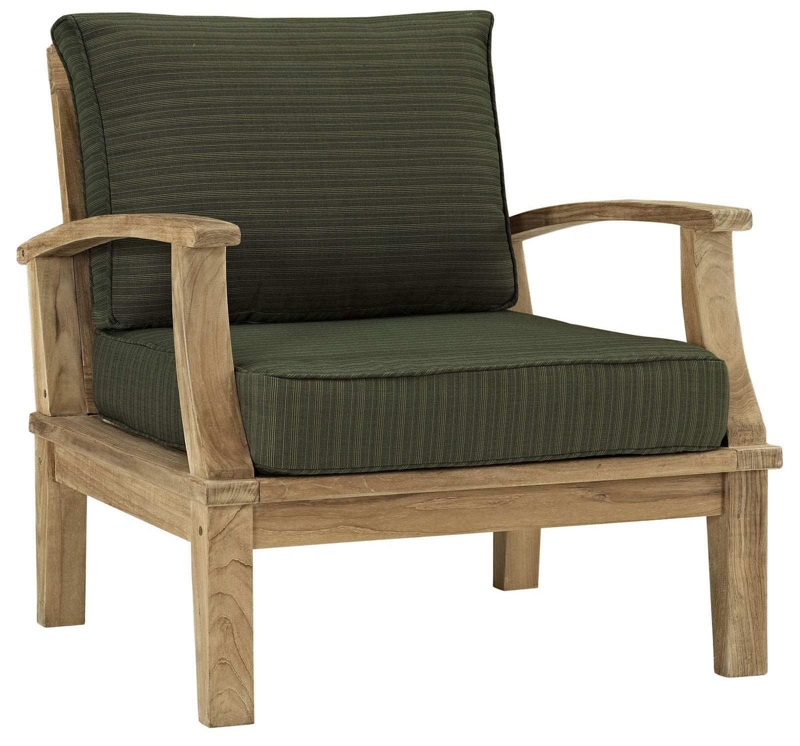 Marina Natural Green Outdoor Patio Teak Armchair From