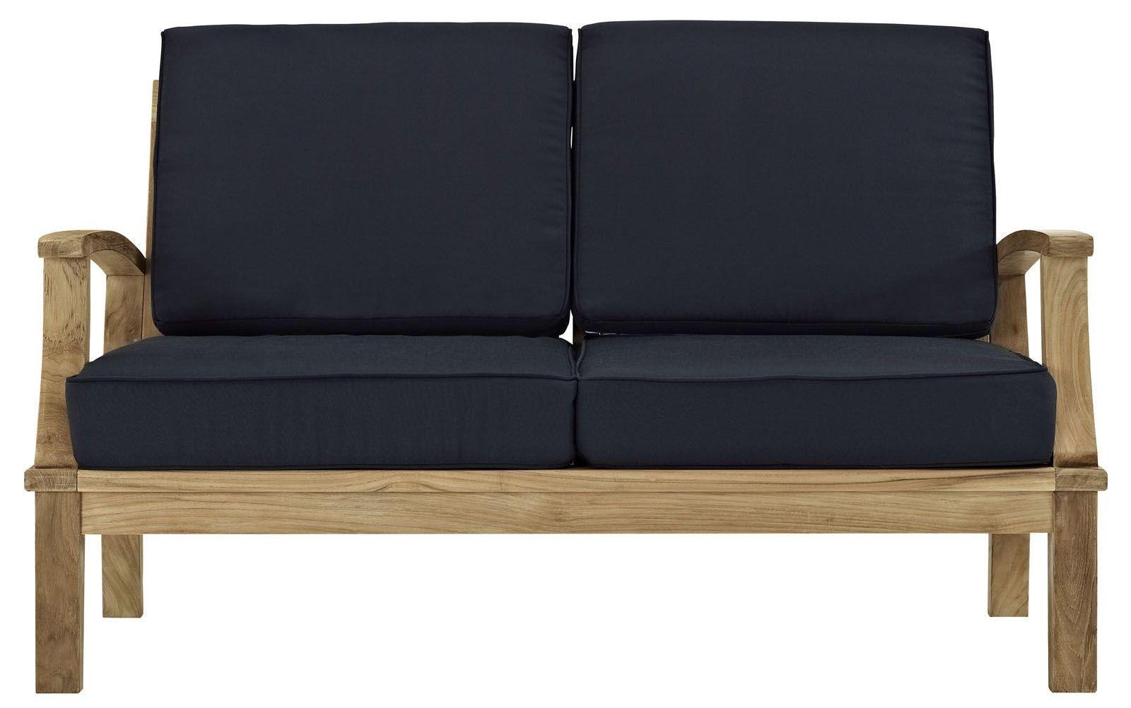 Marina Natural Navy Outdoor Patio Teak Loveseat From Renegade Eei 1144 Coleman Furniture