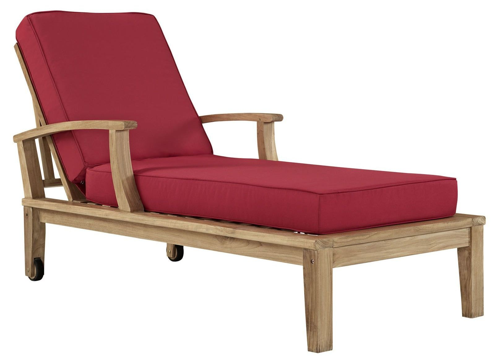 Marina Natural Red Outdoor Patio Teak Single Chaise From