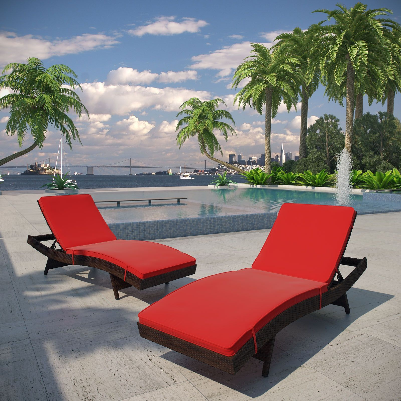 Peer Brown Red Outdoor Patio Chaise Set of 2 from Renegade EEI 1172