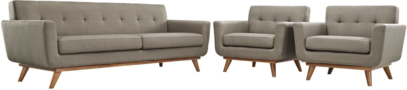 Engage Granite Sofa with 2 Armchairs, EEI-1345-GRA, Renegade Furniture