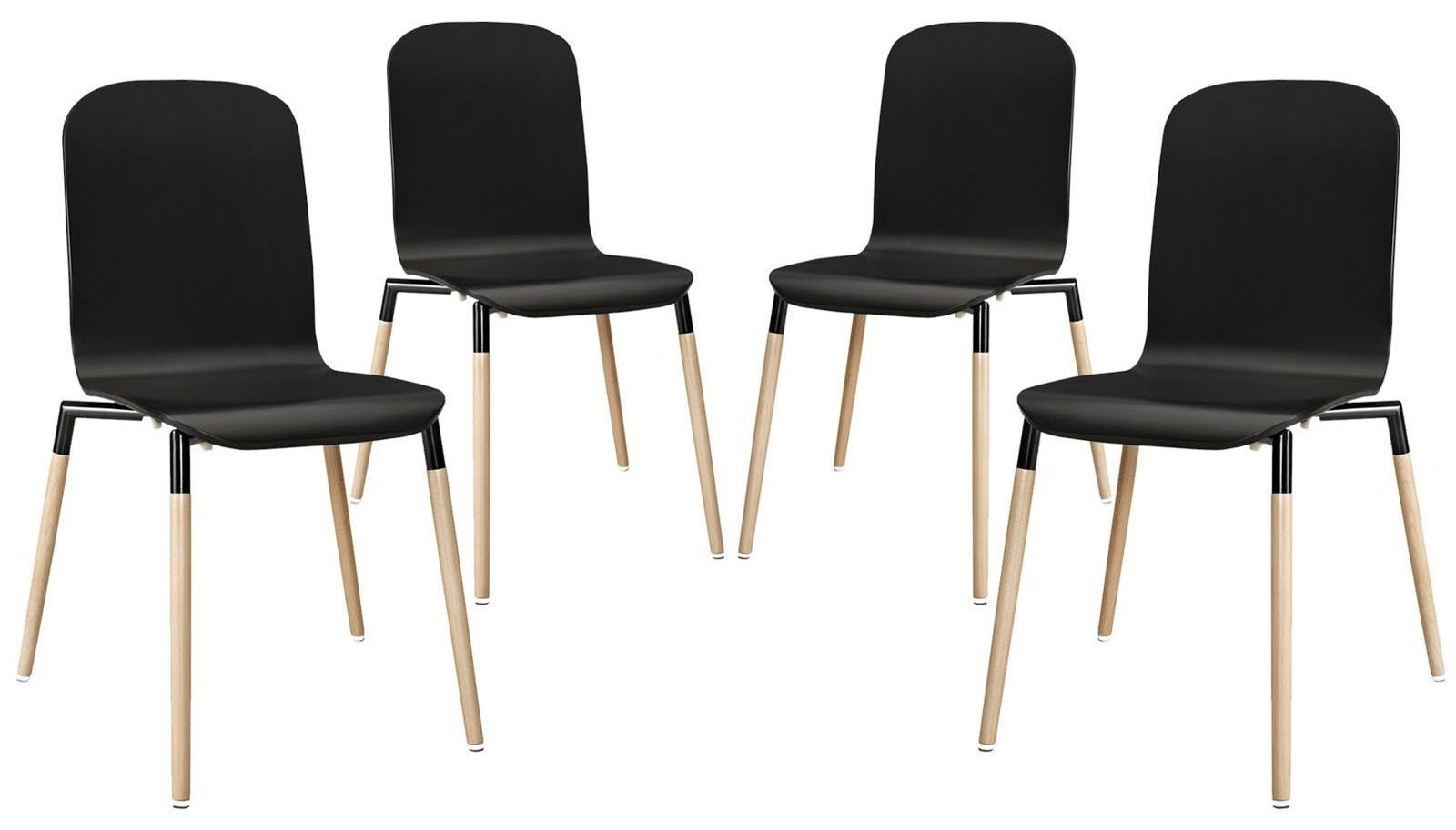 Stack black wood dining chairs set of 4 from renegade eei for Black dining sets with 4 chairs