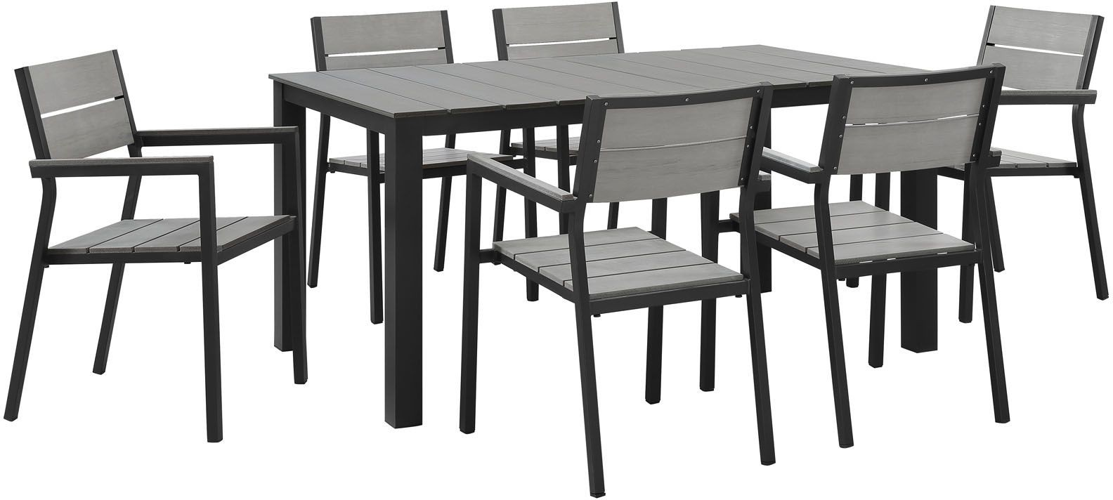 Maine Brown Gray 7 Piece Outdoor Patio Dining Set EEI 1749 BRN GRY SET Rene
