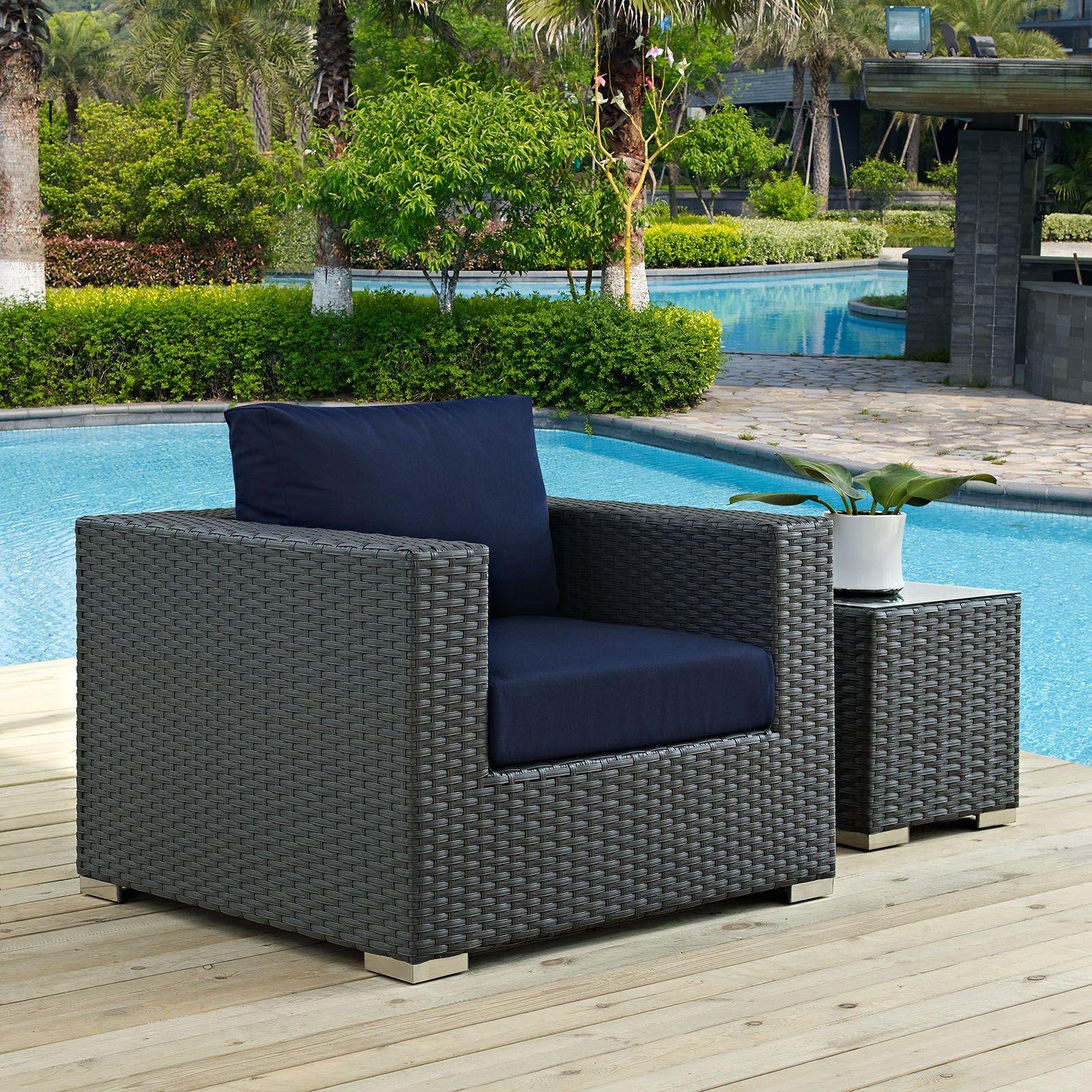 Sojourn canvas navy outdoor patio sunbrella armchair eei for Sunbrella patio furniture