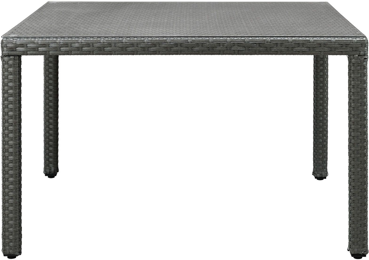 Sojourn chocolate 47 square outdoor patio glass top for Glass top patio dining table