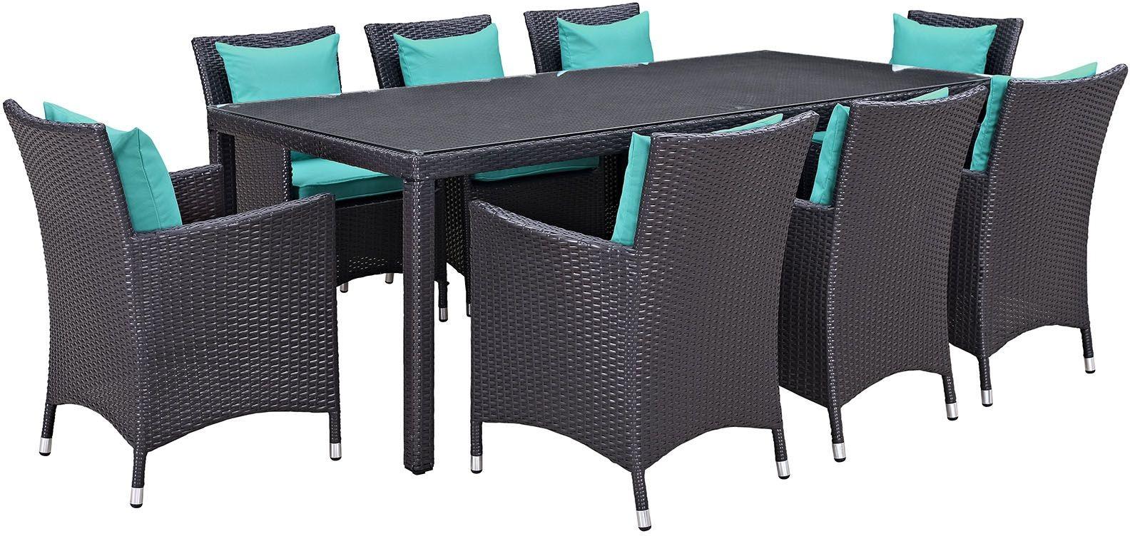 Convene espresso turquoise 9 piece outdoor patio dining for Outdoor furniture 9 piece