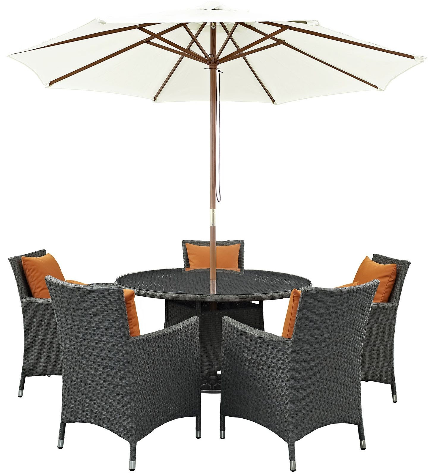 Sojourn canvas tuscan 7 piece outdoor patio sunbrella for Canvas dining