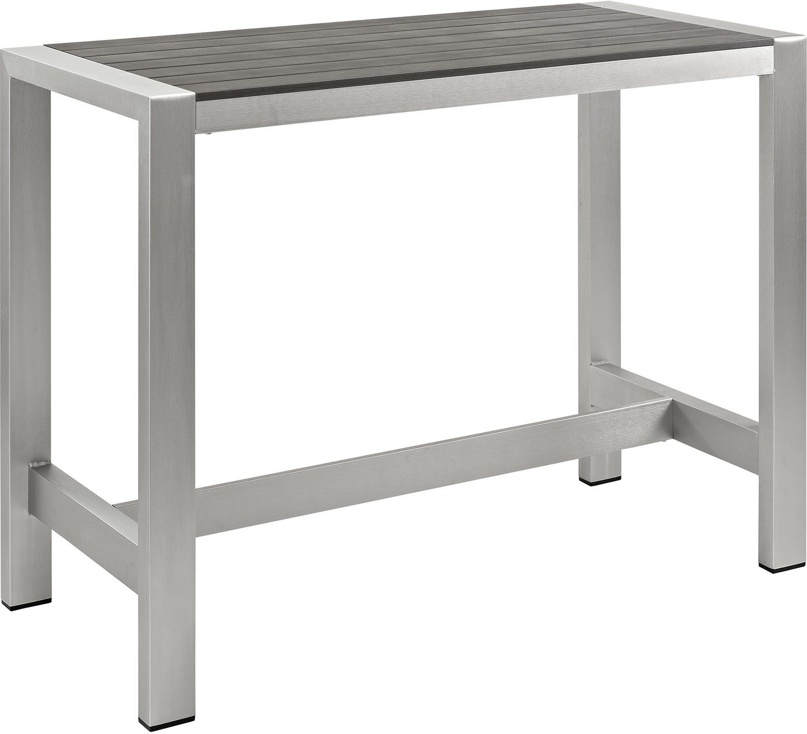 shore silver gray aluminum outdoor patio rectangular bar table eei 2253 slv gry renegade furniture. Black Bedroom Furniture Sets. Home Design Ideas