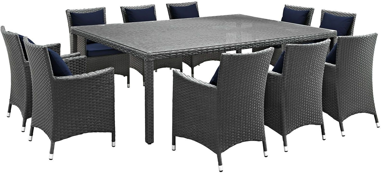 Sojourn canvas navy 11 piece outdoor patio sunbrella for Canvas dining