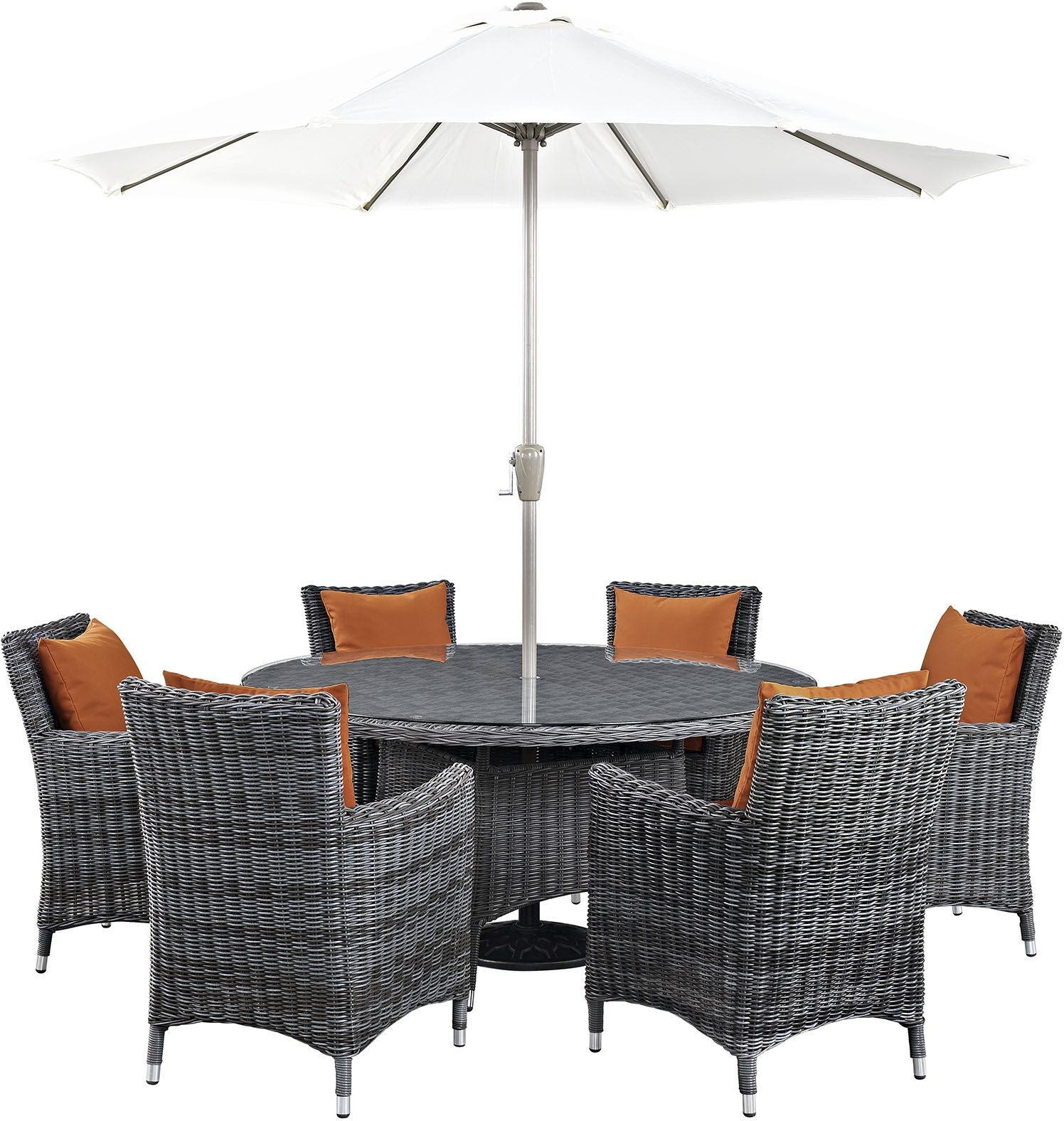 Summon canvas tuscan 8 piece outdoor patio sunbrella for Canvas dining