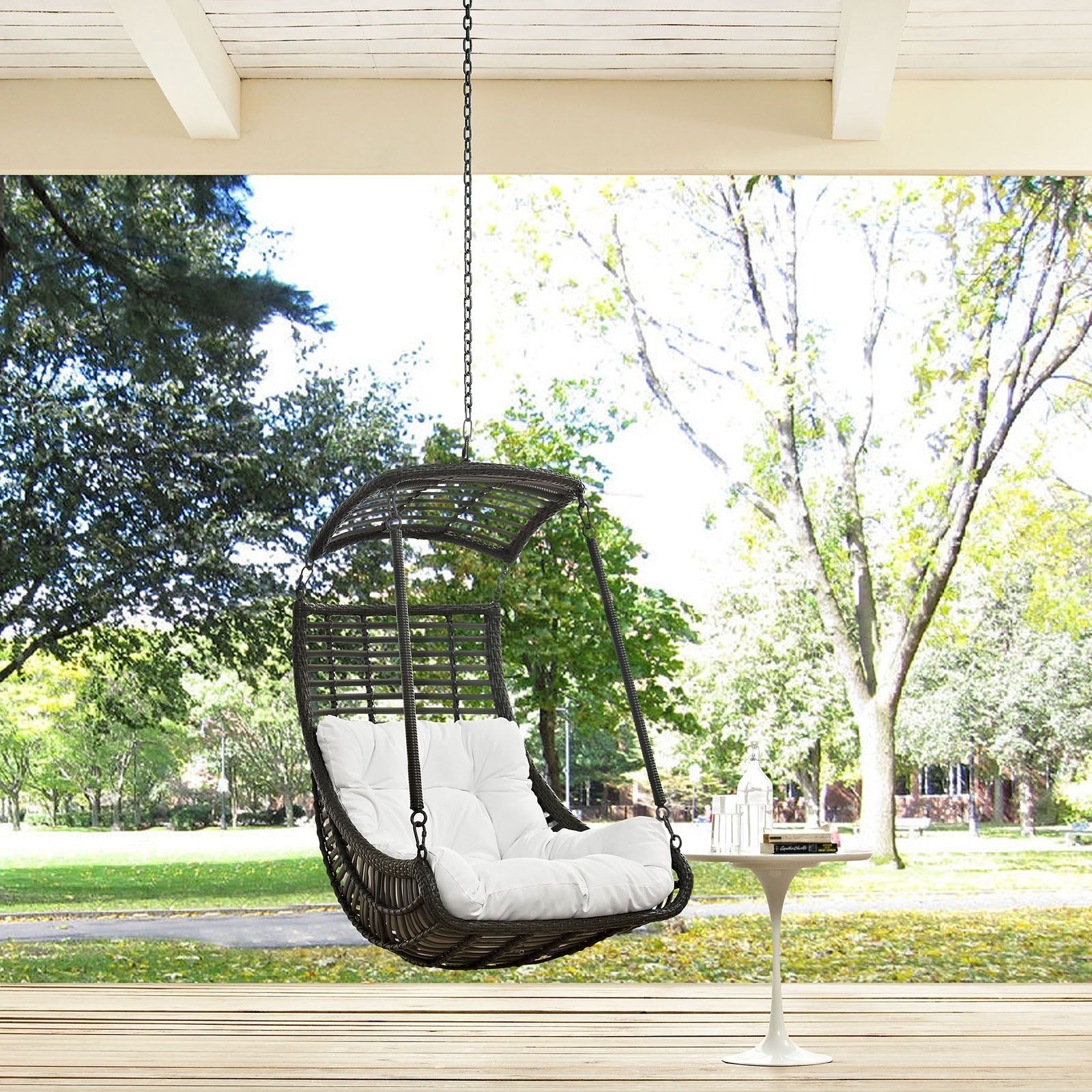 Jungle white outdoor patio swing chair without stand eei for Jungle furniture white river