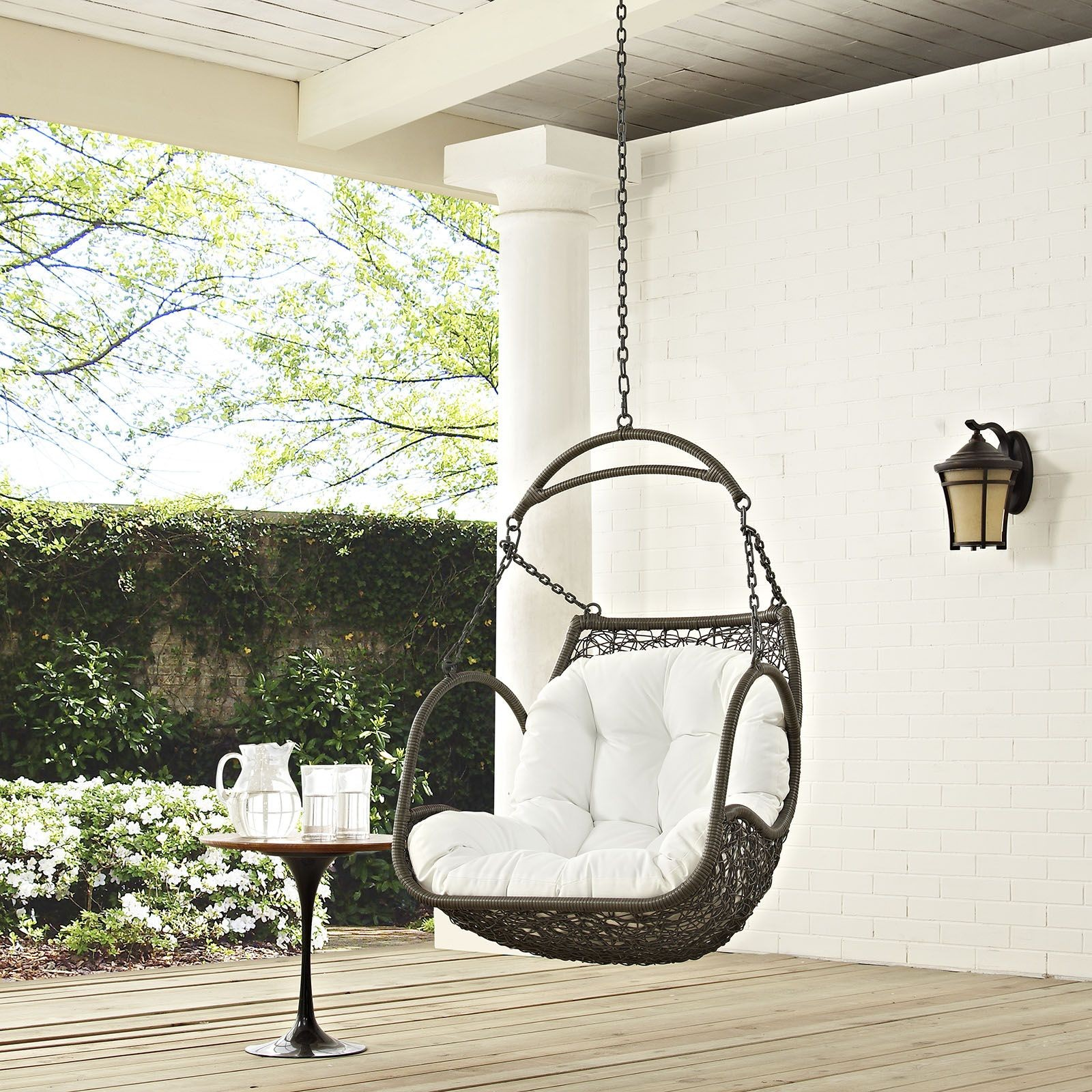 Arbor white outdoor patio swing chair without stand eei for White porch swing with stand