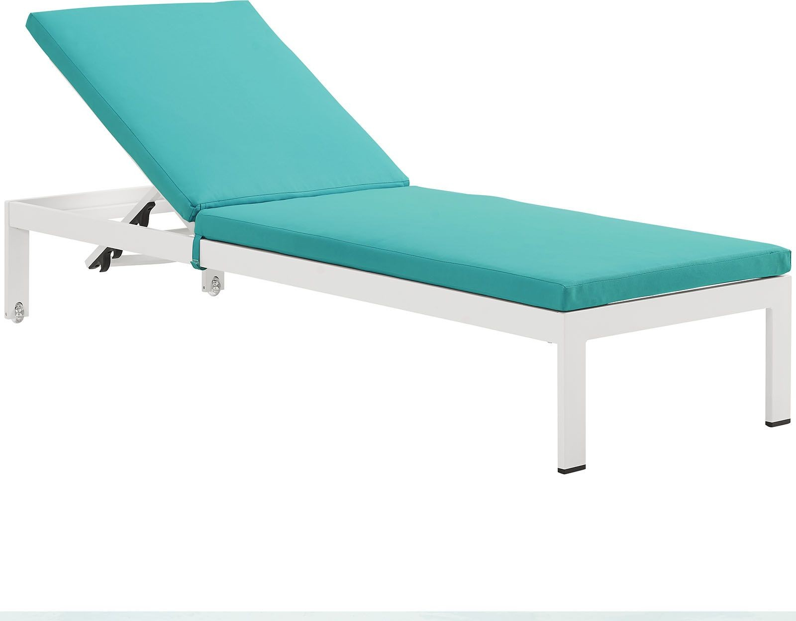 Shore white turquoise aluminum outdoor patio chaise with for Chaise cushions outdoor