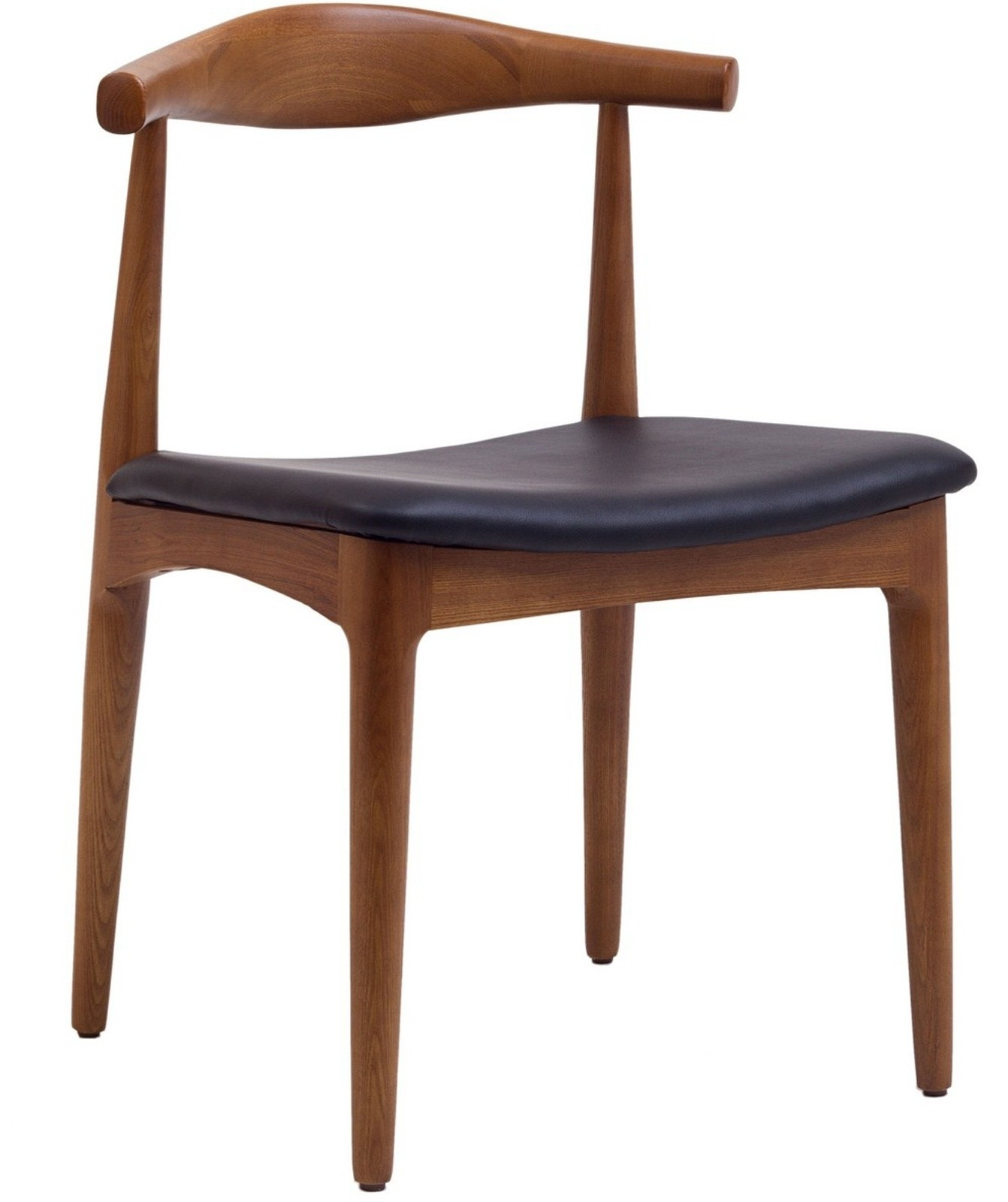 Tracy wood dining chair with faux leather seat from for Wood and leather dining chair