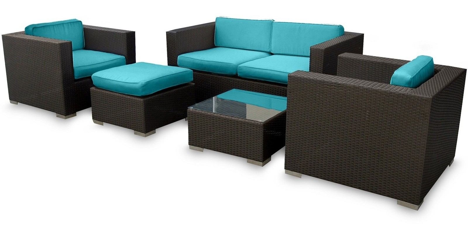Malibu Outdoor Rattan 5 Piece Set In Espresso with Turquoise Cushions from Re
