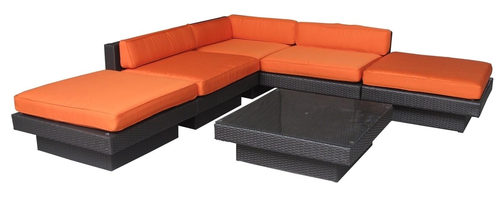 Laguna Outdoor Rattan 6 Piece Set In Espresso with Orange Cushions from Reneg