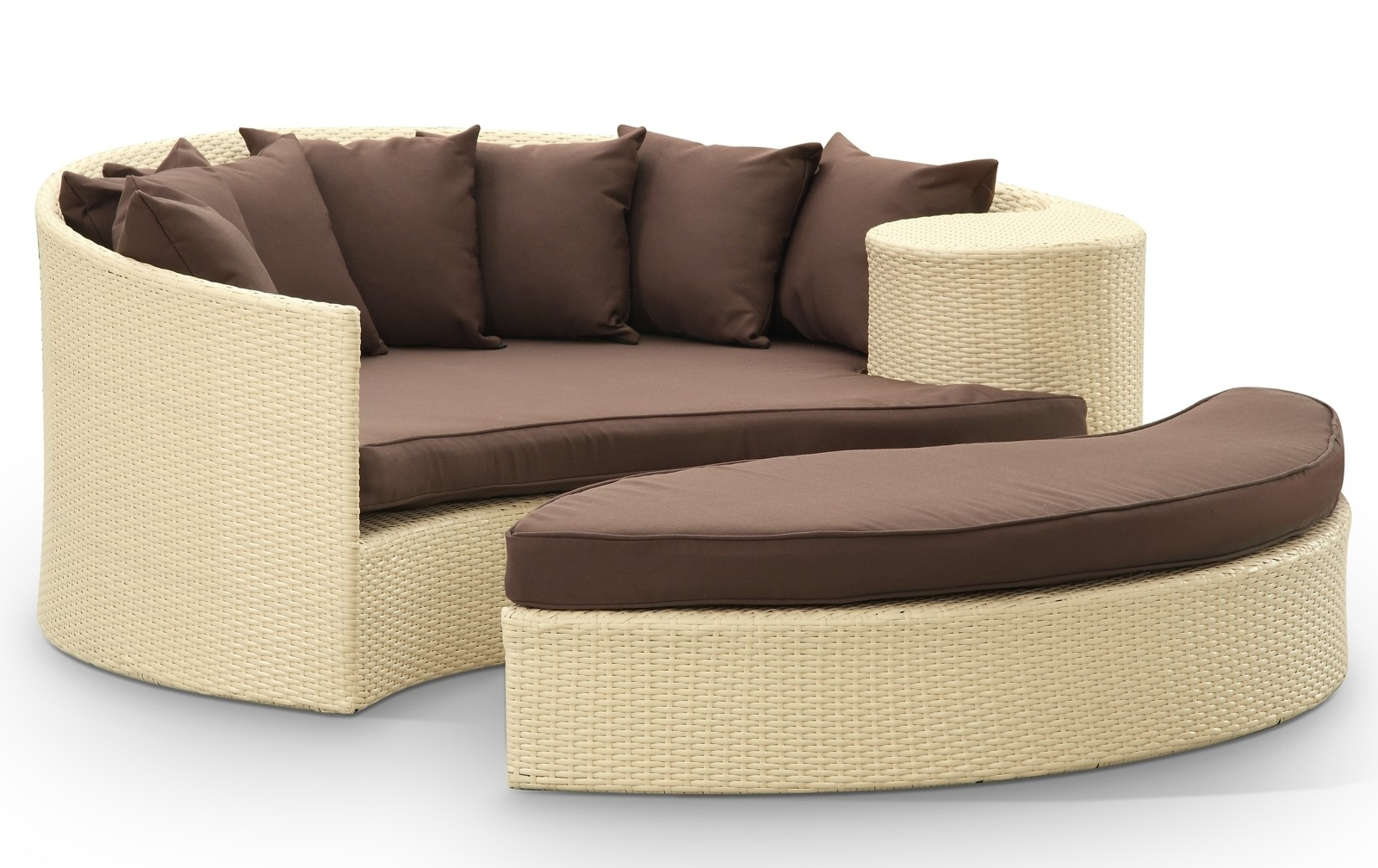 Taiji Outdoor Rattan Daybed with Ottoman in Tan with Brown