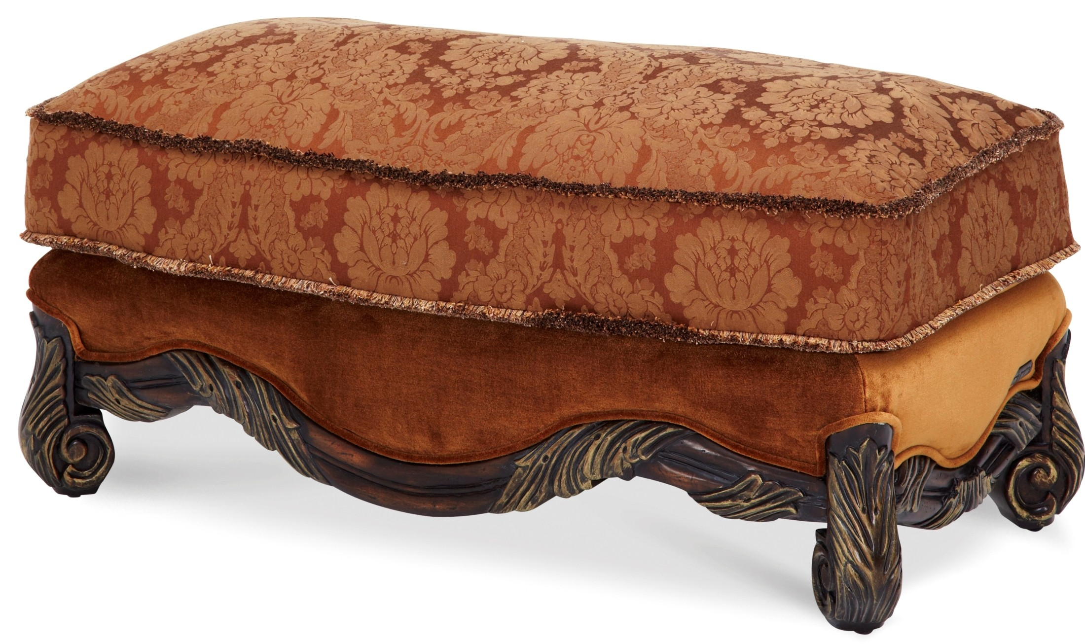 Manor Wood Trim Ottoman From Aico (76877 DPBRN 57) Coleman Furniture. Full resolution  picture, nominally Width 2200 Height 1306 pixels, picture with #A14E2A.