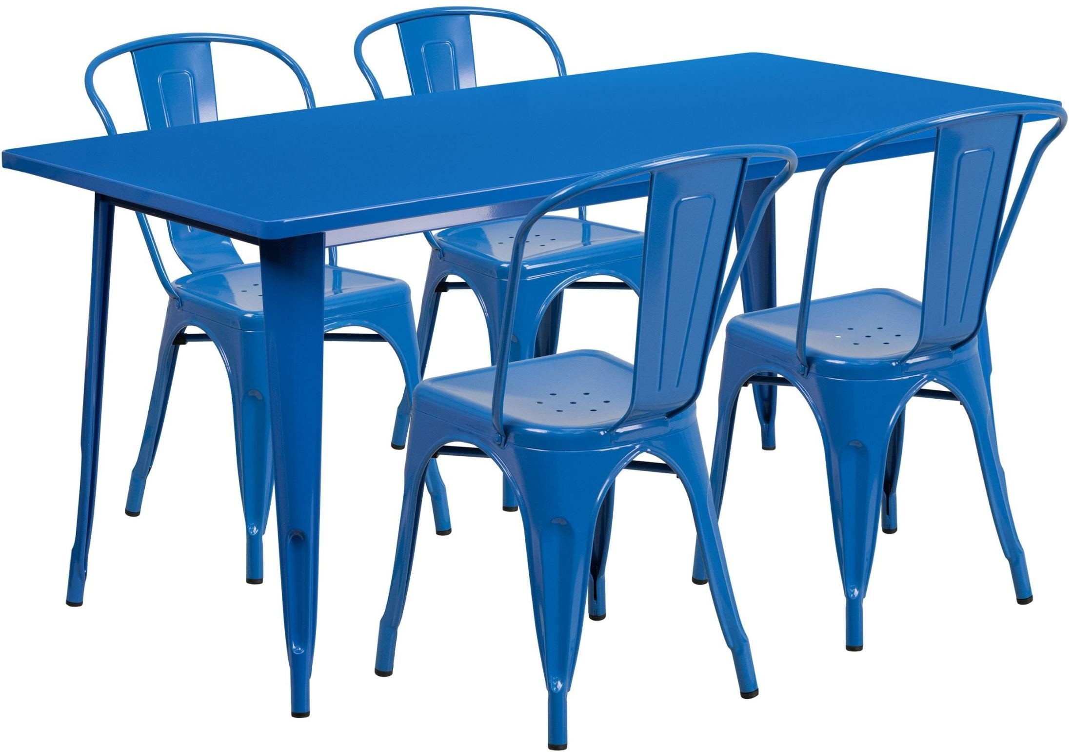 63inch rectangular blue indoor outdoor table set with 4 stack chairs