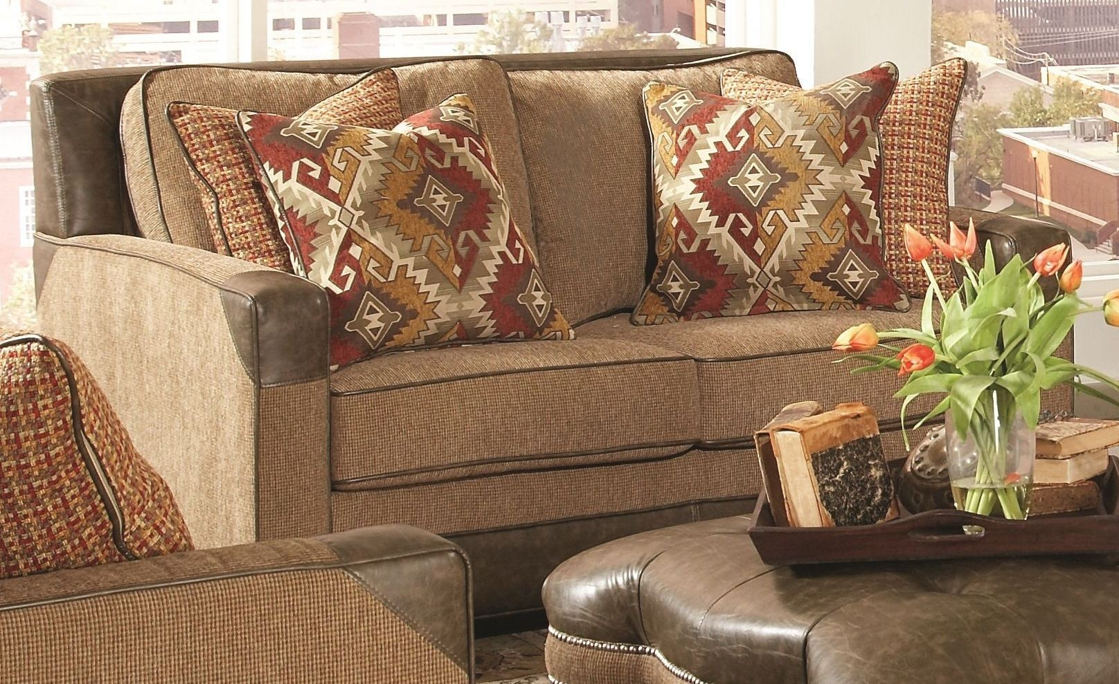 Fitzgerald Caramel And Ruby Multi Loveseat F1354 402 Largo Furniture
